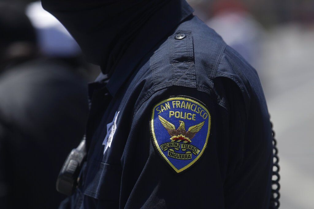 In this July 7, 2020, file photo a San Francisco Police Department patch is shown on an officer's uniform in San Francisco. (AP Photo/Jeff Chiu, File)