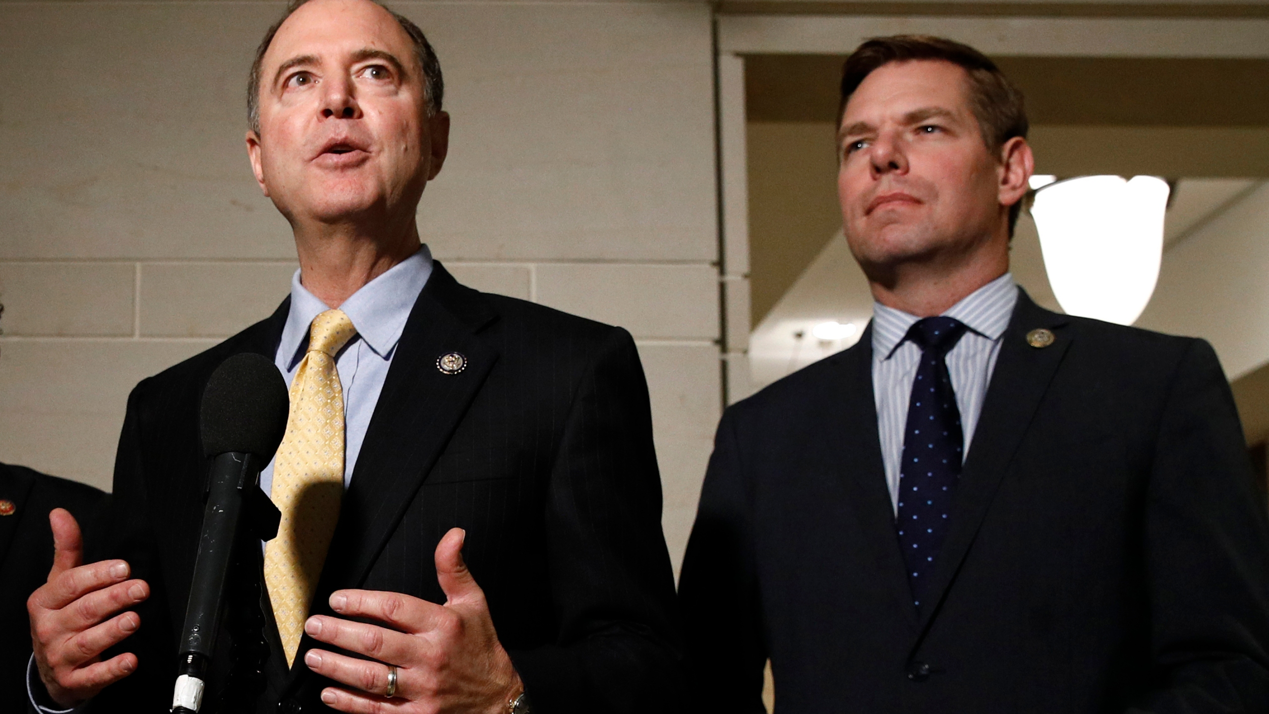 In this May 28, 2019 file photo, Rep. Adam Schiff, D-Calif., left, and Rep. Eric Swalwell, D-Calif., speak with members of the media on Capitol Hill. (Patrick Semansky/Associated Press)