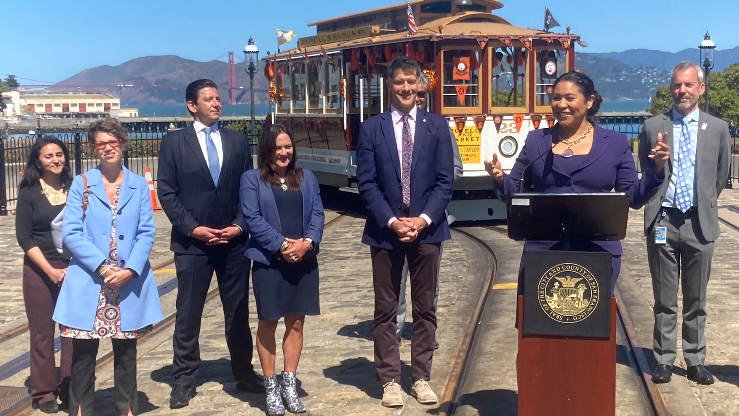 Mayor London Breed talks about the return of cable cars during a news conference at the Hyde Street cable car turnaround in San Francisco on June 15, 2021. (Olga Rodriguez/Associated Press)