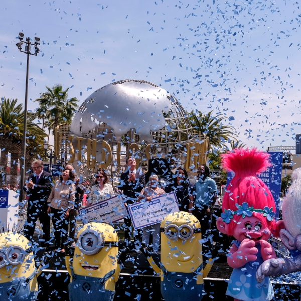 California Governor Gavin Newsom celebrates with other guests after the Vax for the Win lottery contest during a news conference at Universal Studios on June 15, 2021. (Ringo H.W. Chiu)