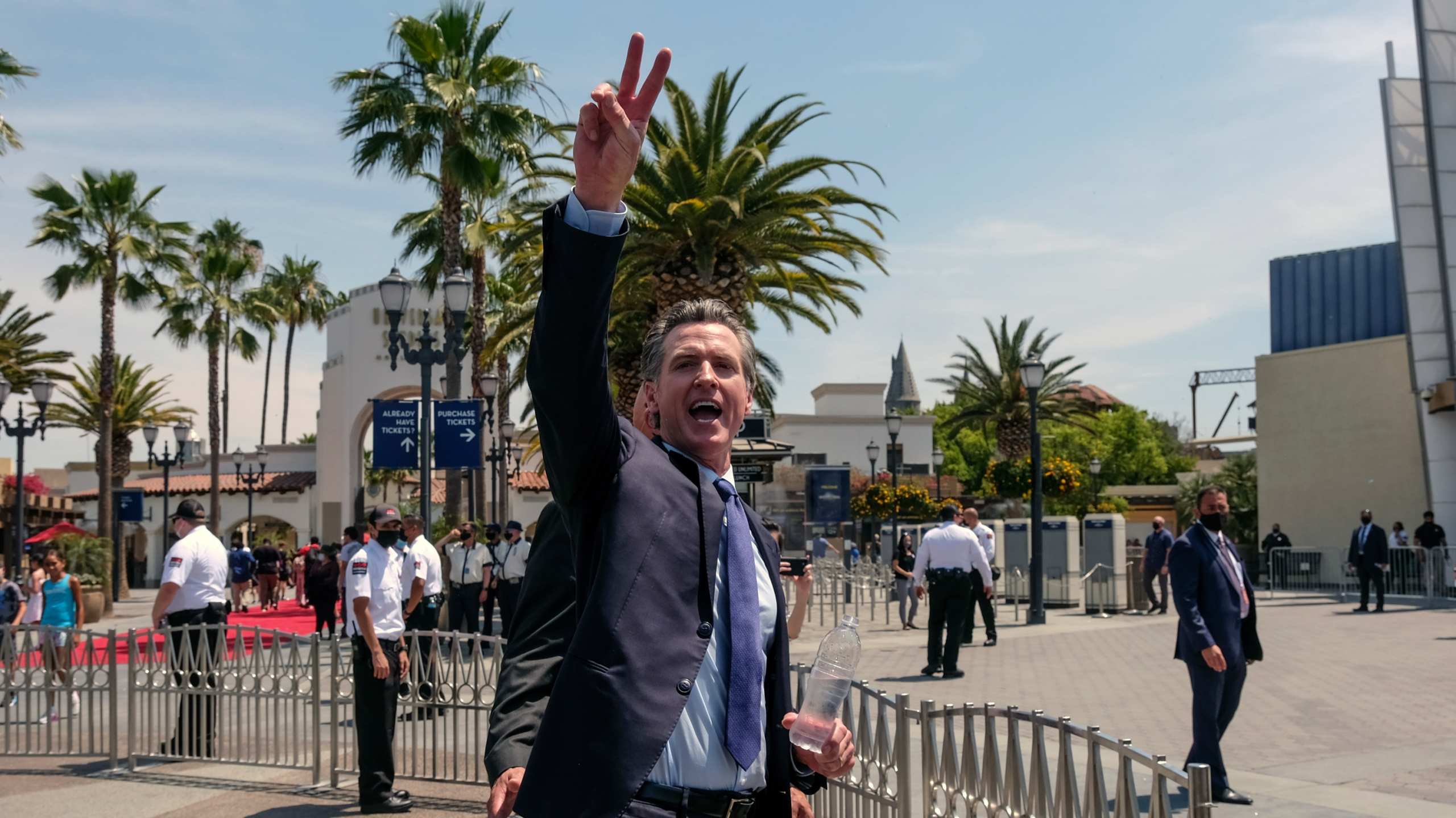 In this June 15, 2021, file photo California Gov. Gavin Newsom gestures after a news conference at Universal Studios in Universal City, Calif. (AP Photo/Ringo H.W. Chiu, File)