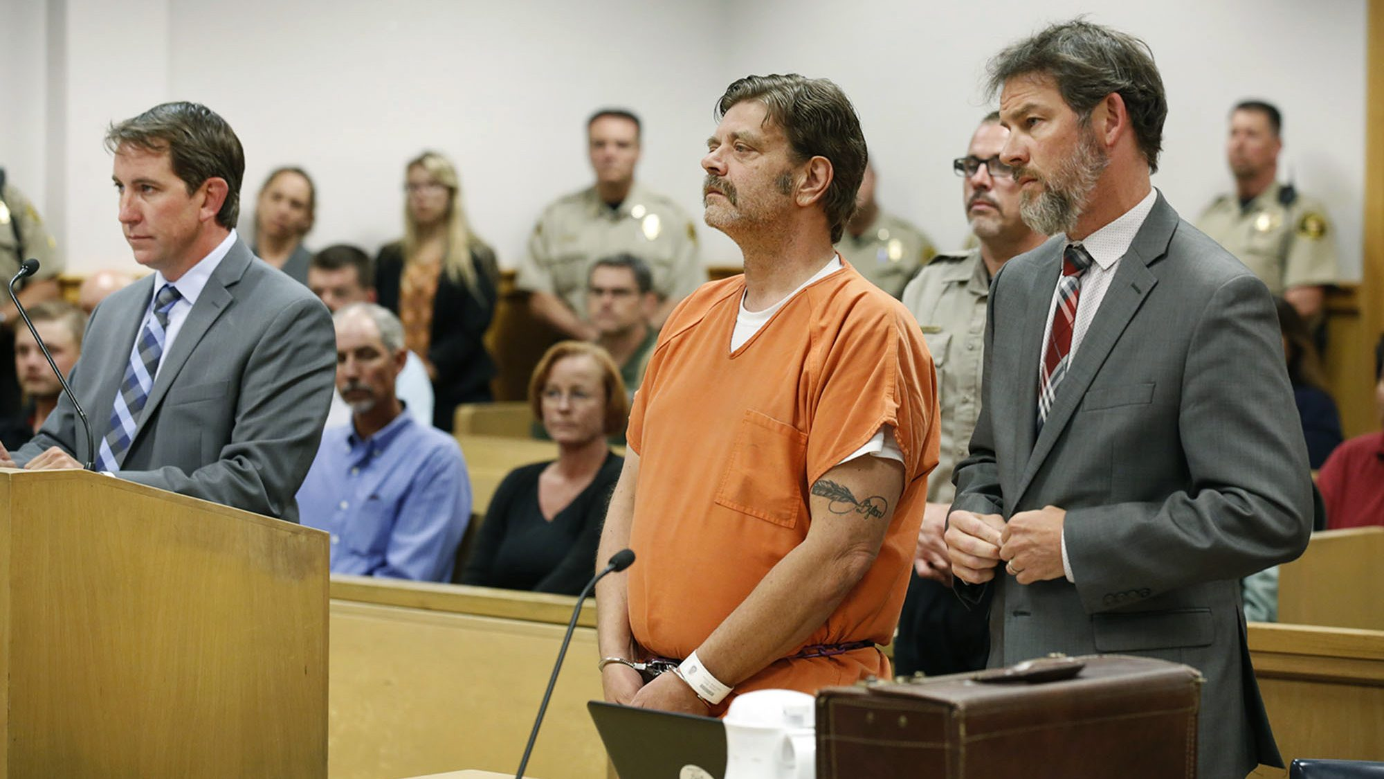 Mark Redwine makes his first appearance in district court in Durango, Colo., on Aug. 15, 2017. (Jerry McBride / The Durango Herald via Associated Press)