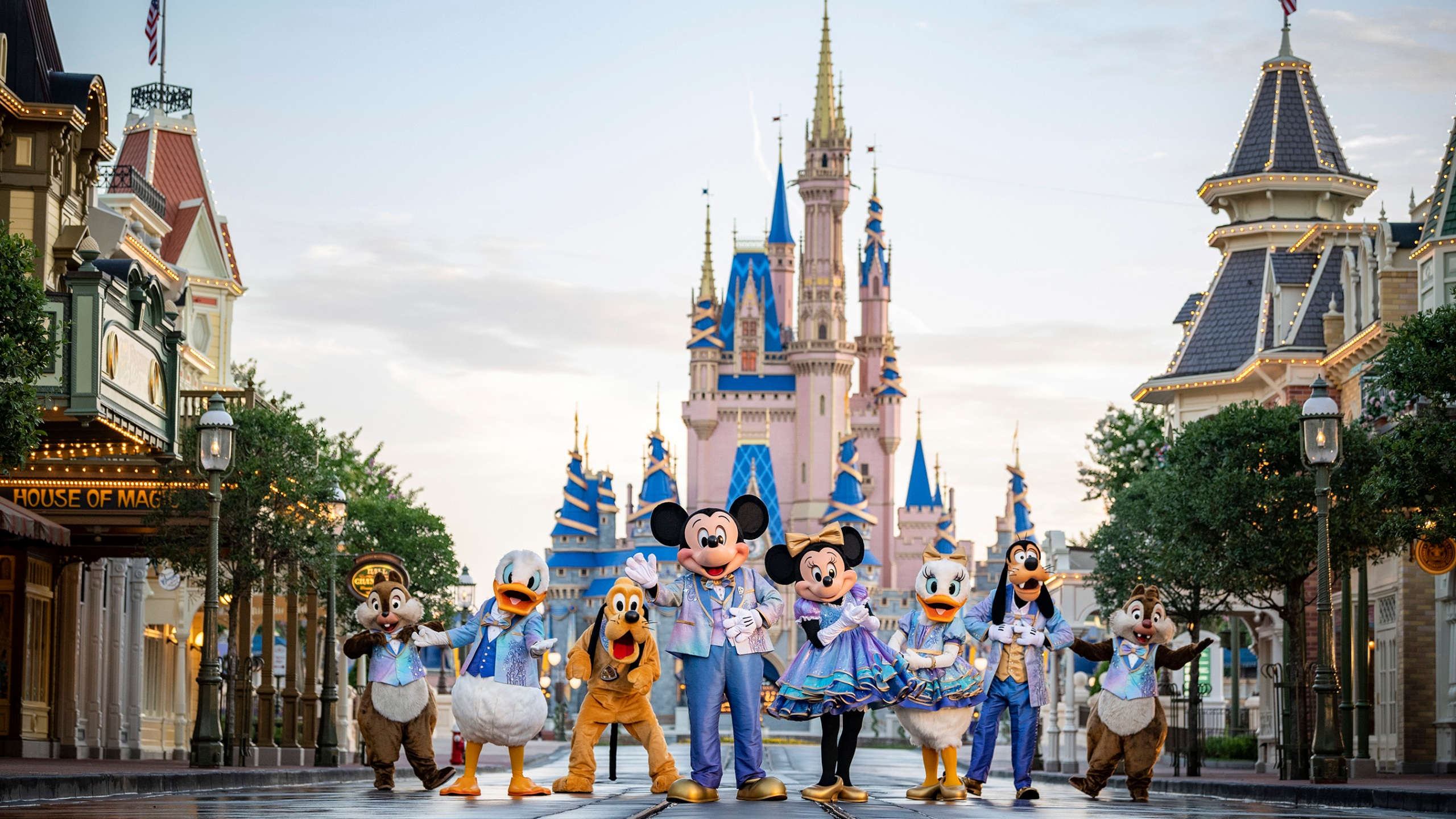 """This undated photo provided by Walt Disney World shows Disney characters at Walt Disney World in Lake Buena Vista, Fla. Walt Disney World is planning an 18-month celebration in honor of its 50th anniversary, starting in October 2021. Disney announced Tuesday, June 22 that all four parks at the resort will take part in """"The World's Most Magical Celebration."""" (Matt Stroshane/Walt Disney World via AP)"""