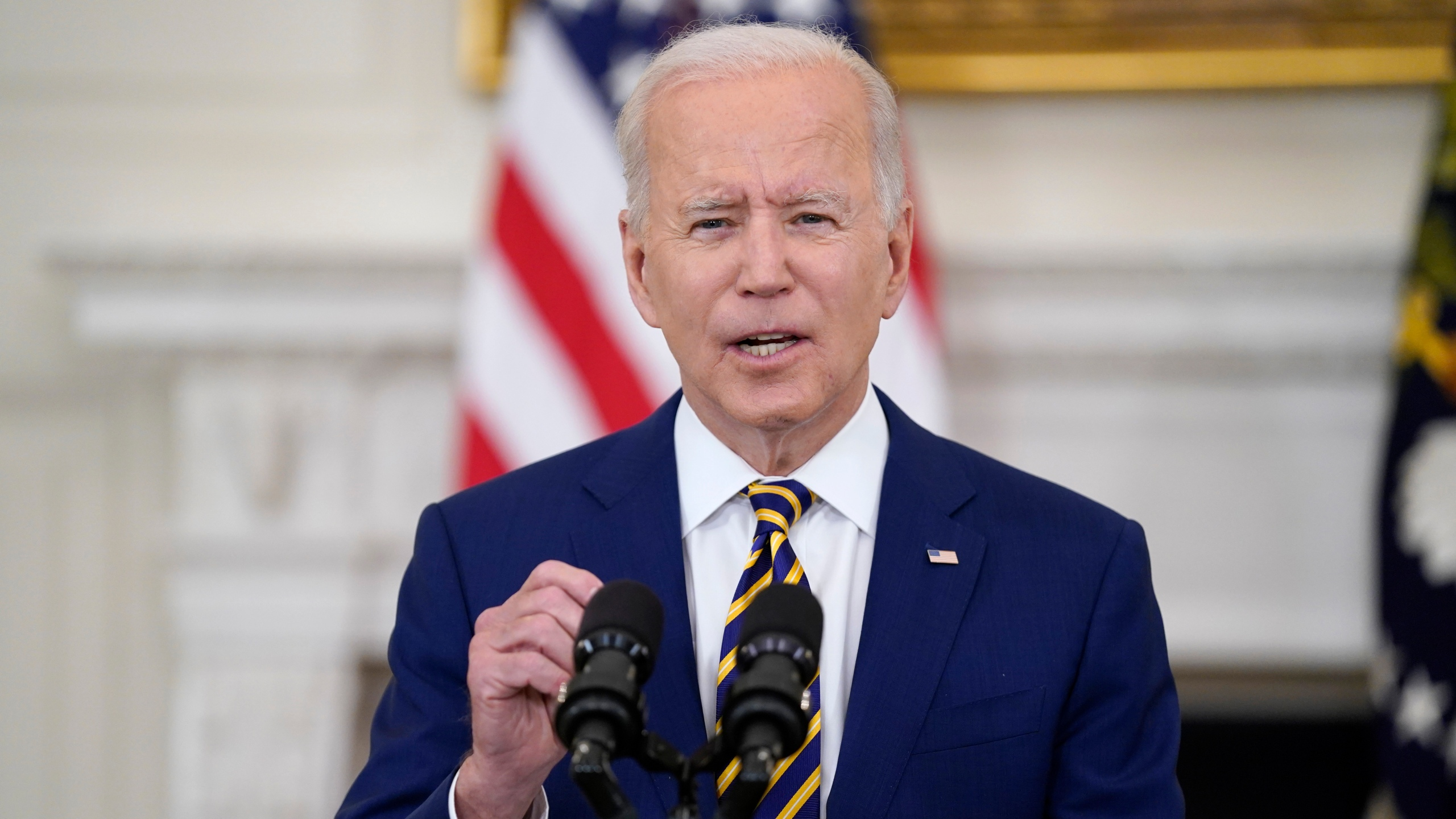In this June 18, 2021, file photo, President Joe Biden speaks in the State Dining Room of the White House in Washington. (AP Photo/Evan Vucci, File)