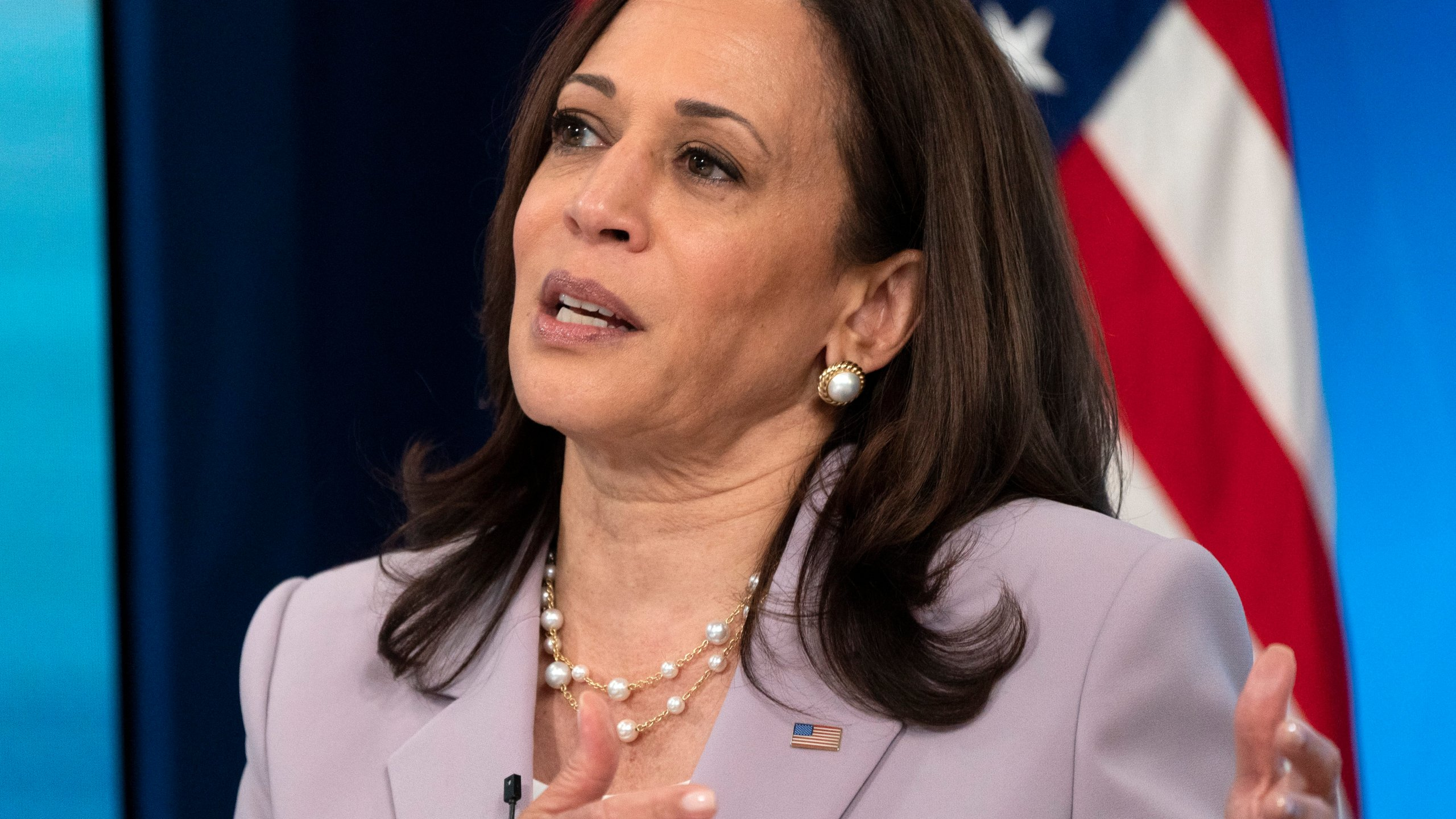 Vice President Kamala Harrisspeaks about voting rights on June 23, 2021, from the South Court Auditorium on the White House complex. (Jacquelyn Martin/Associated Press)
