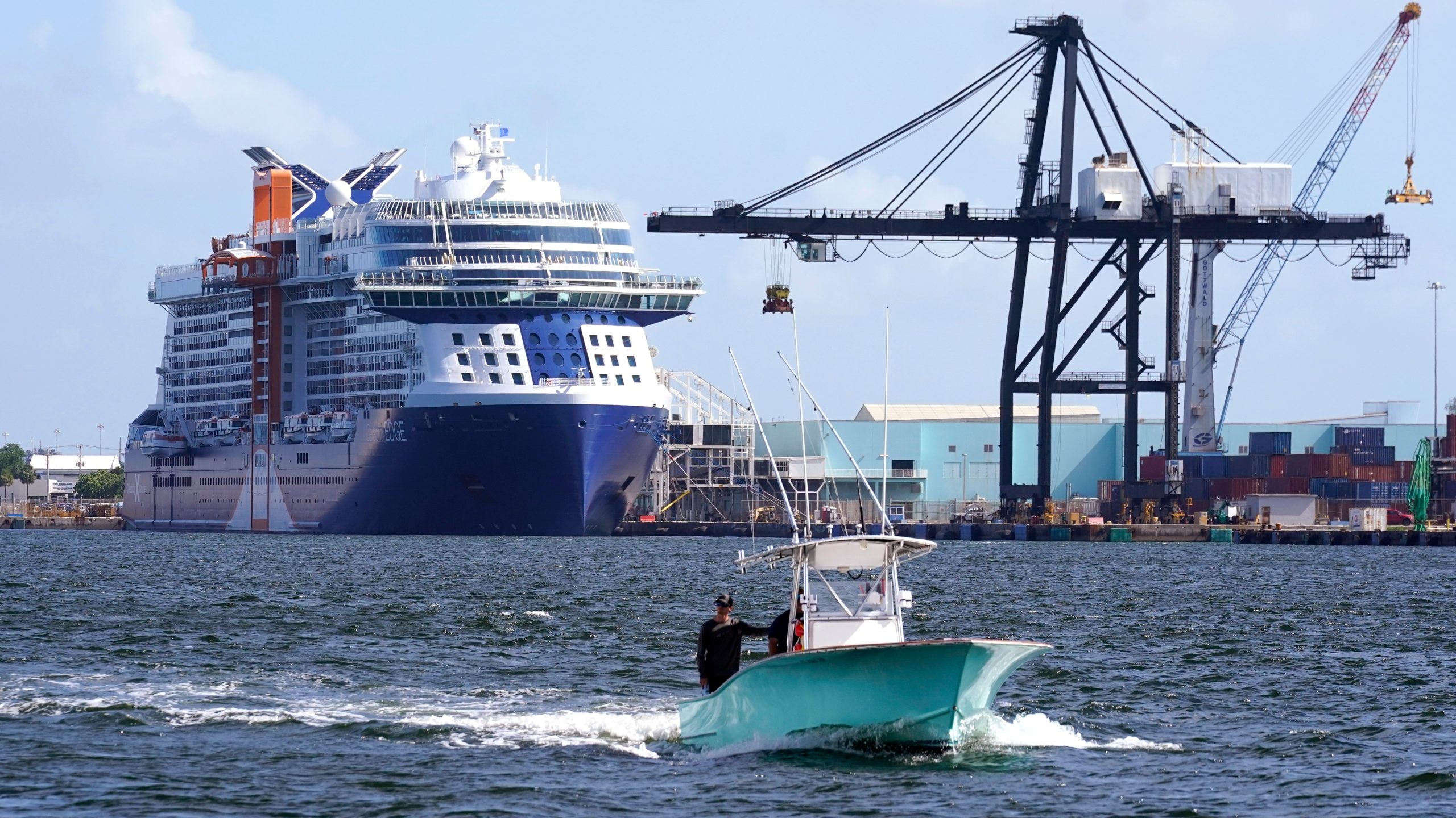 The Celebrity Edge cruise ship is docked at Port Everglades, Tuesday, June 22, 2021, in Fort Lauderdale, Fla. The Celebrity Edge is set to sail on Saturday from Fort Lauderdale. It will be the first cruise ship to leave a U.S. port with ticketed passengers since the onset of the pandemic, which halted sailing. (AP Photo/Lynne Sladky)