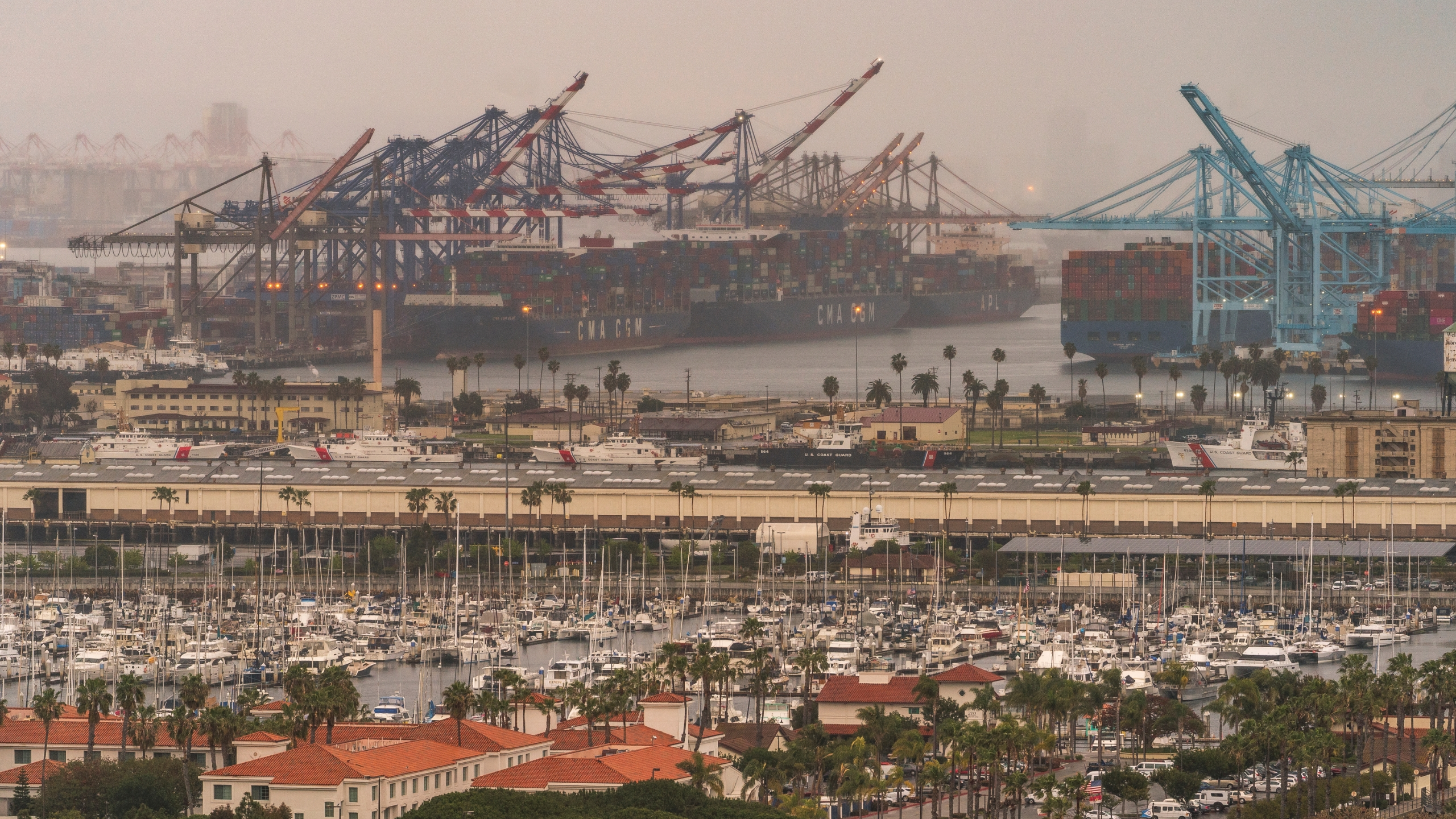 In this Wednesday, March 3, 2021 file photo, container cargo ships are seen docked in the Port of Los Angeles. (AP Photo/Damian Dovarganes, File)