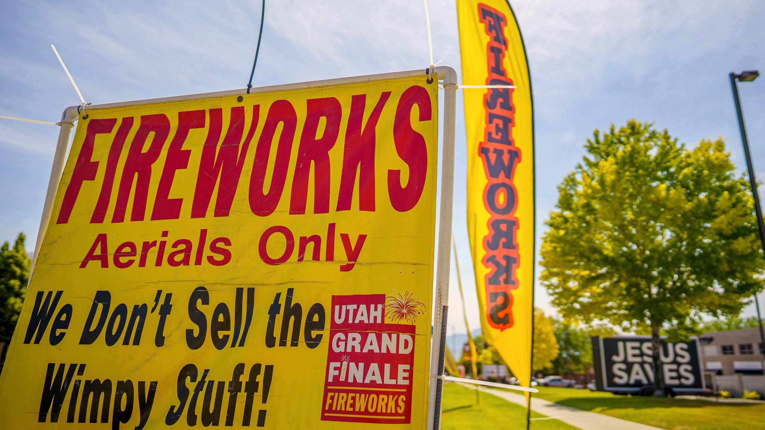 A sign advertising fireworks is shown on Wednesday, June 23, 2021, in American Fork, Utah. (Trent Nelson/The Salt Lake Tribune via AP)