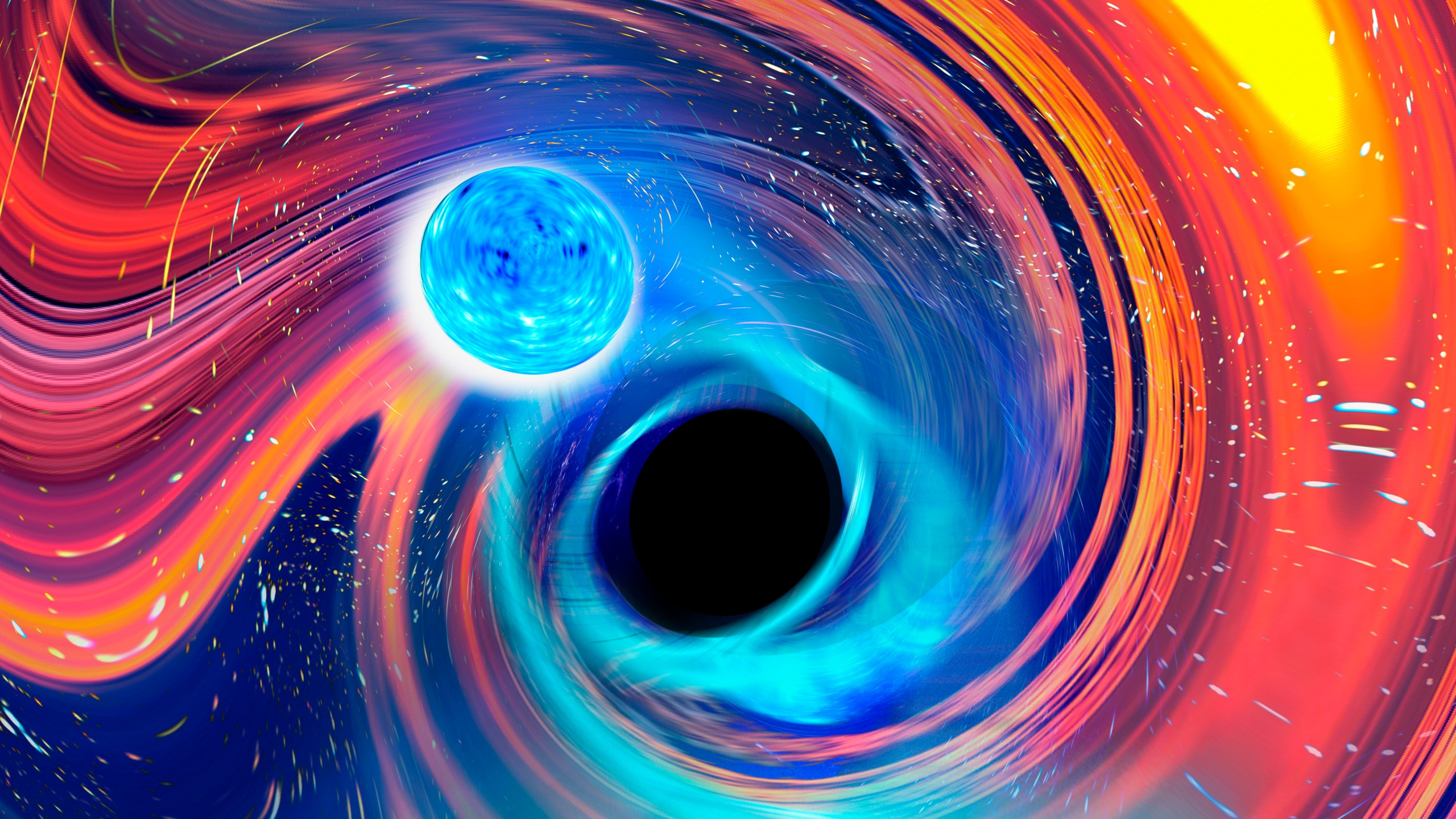 This illustration provided by Carl Knox depicts a black hole, center, swallowing a neutron star, upper left. The blue lines are gravitational waves, ripples in time and space, which is how astronomers detected the merger, and orange and red areas indicate parts of the neutron star being stripped away. In a report released on Tuesday, June 29, 2021, astronomers say they have witnessed a black hole swallowing a neutron star, the most dense object in the universe, _ all in a split-second gulp. (Carl Knox/OzGrav/Swinburne University Australia via AP)