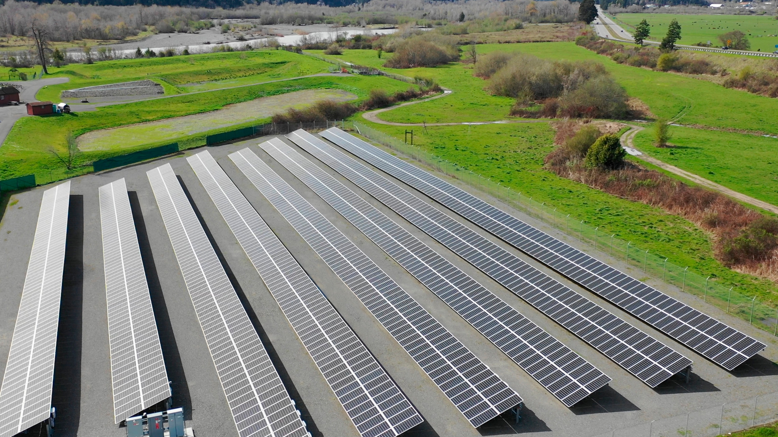 This aerial photo provided by the Blue Lake Rancheria shows a solar array that is paired with a microgrid in Blue Lake, Calif., in 2017. (Blue Lake Rancheria via AP)