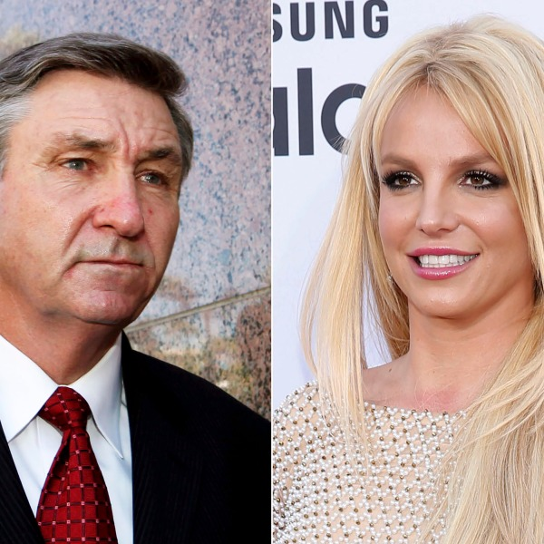 Jamie Spears, father of singer Britney Spears, leaves the Stanley Mosk Courthouse in Los Angeles on Oct. 24, 2012, left, and Britney Spears arrives at the Billboard Music Awards in Las Vegas on May 17, 2015. (Associated Press photos)