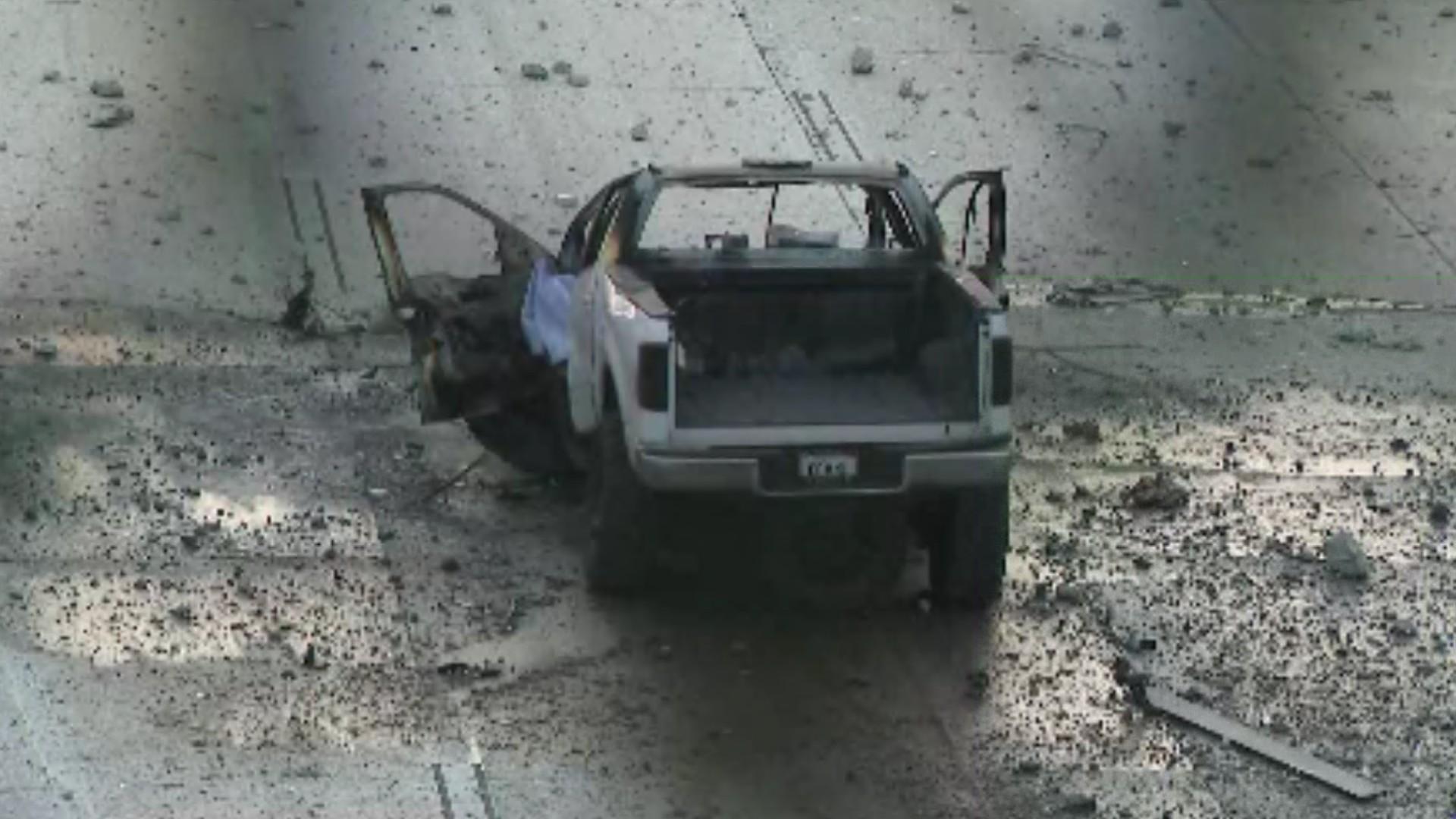 A driver was killed in a fiery crash in Fontana on June 29, 2021. (KTLA)
