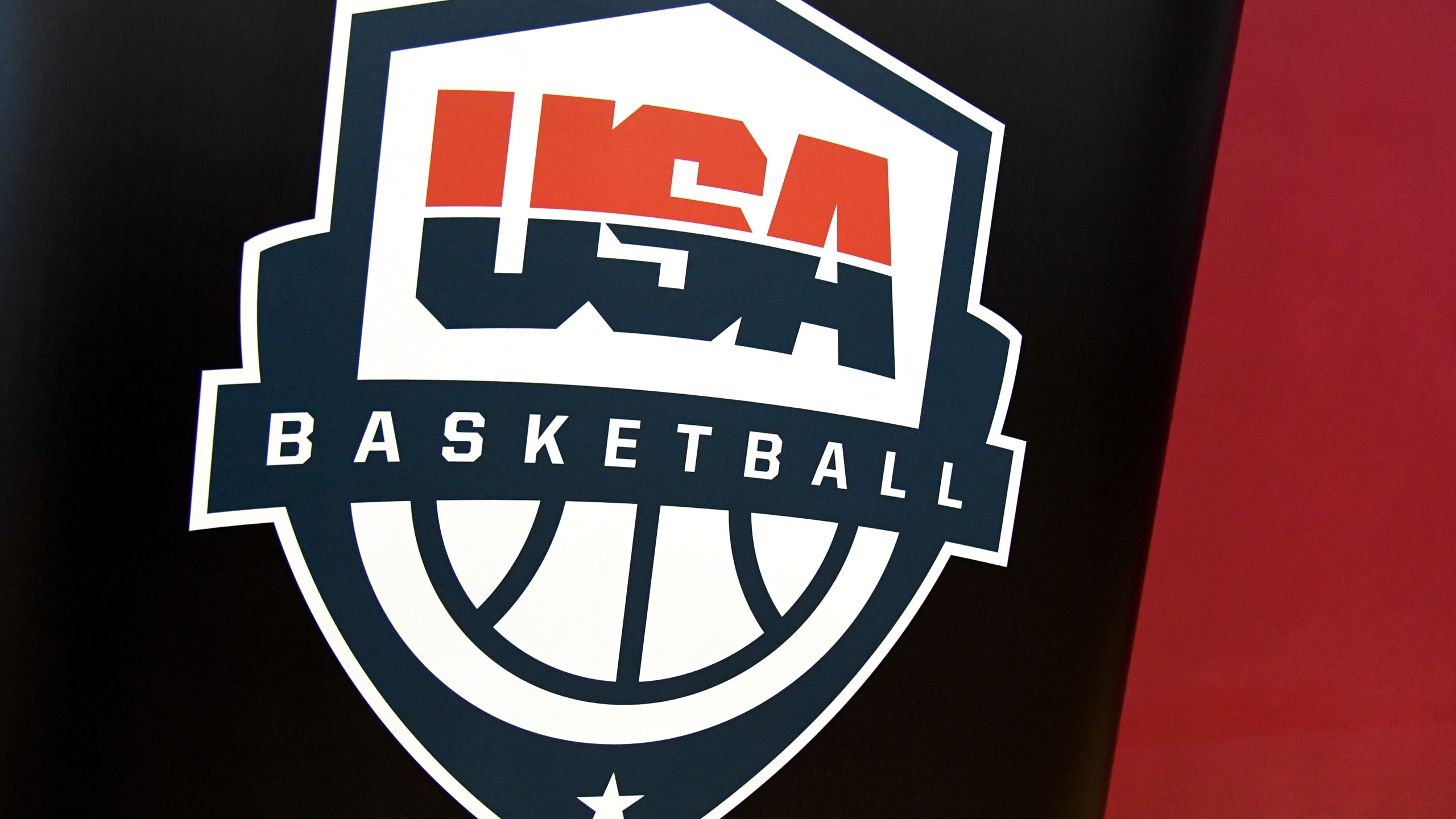 A USA Basketball logo is displayed at a practice session at the 2019 USA Basketball Men's National Team World Cup minicamp at the Mendenhall Center at UNLV on August 5, 2019, in Las Vegas, Nevada. (Ethan Miller/Getty Images)