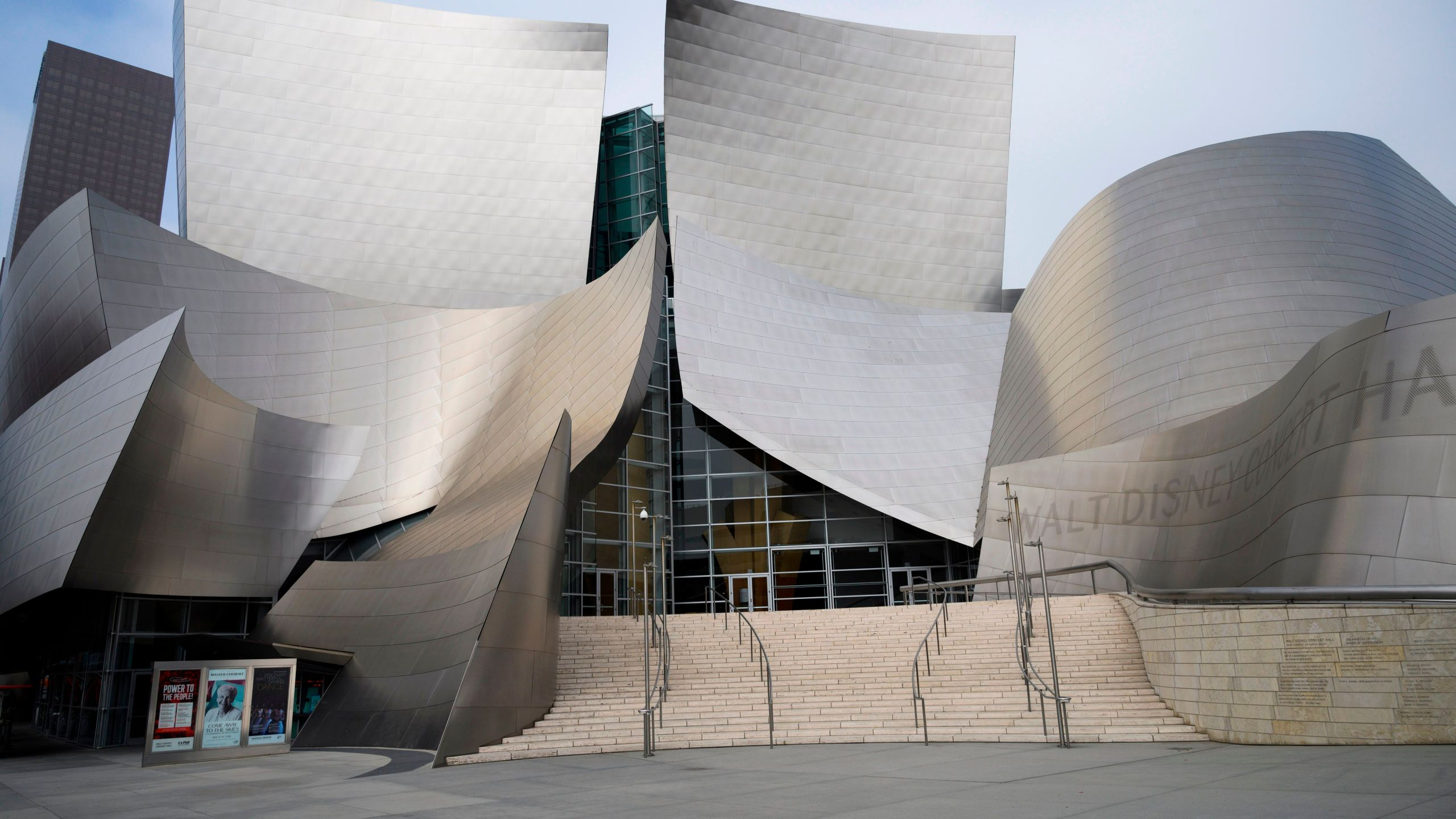 The Walt Disney Concert Hall in downtown Los Angeles is seen on on April 30, 2020. (ROBYN BECK/AFP via Getty Images)