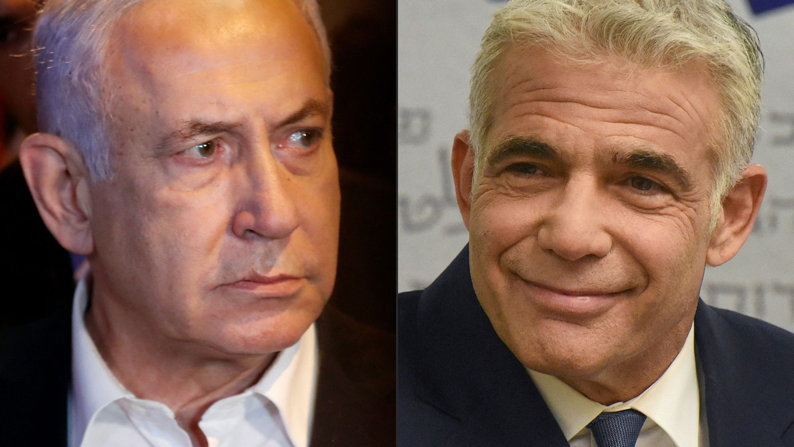 This combination of pictures created on June 2, 2021 shows Israeli Prime Minister Benjamin Netanyahu in the city of Lod early on May 12, 2021 and Israel's centrist opposition leader Yair Lapid at the Knesset in Jerusalem on May 31, 2021. (AHMAD GHARABLI,DEBBIE HILL/POOL/AFP via Getty Images)