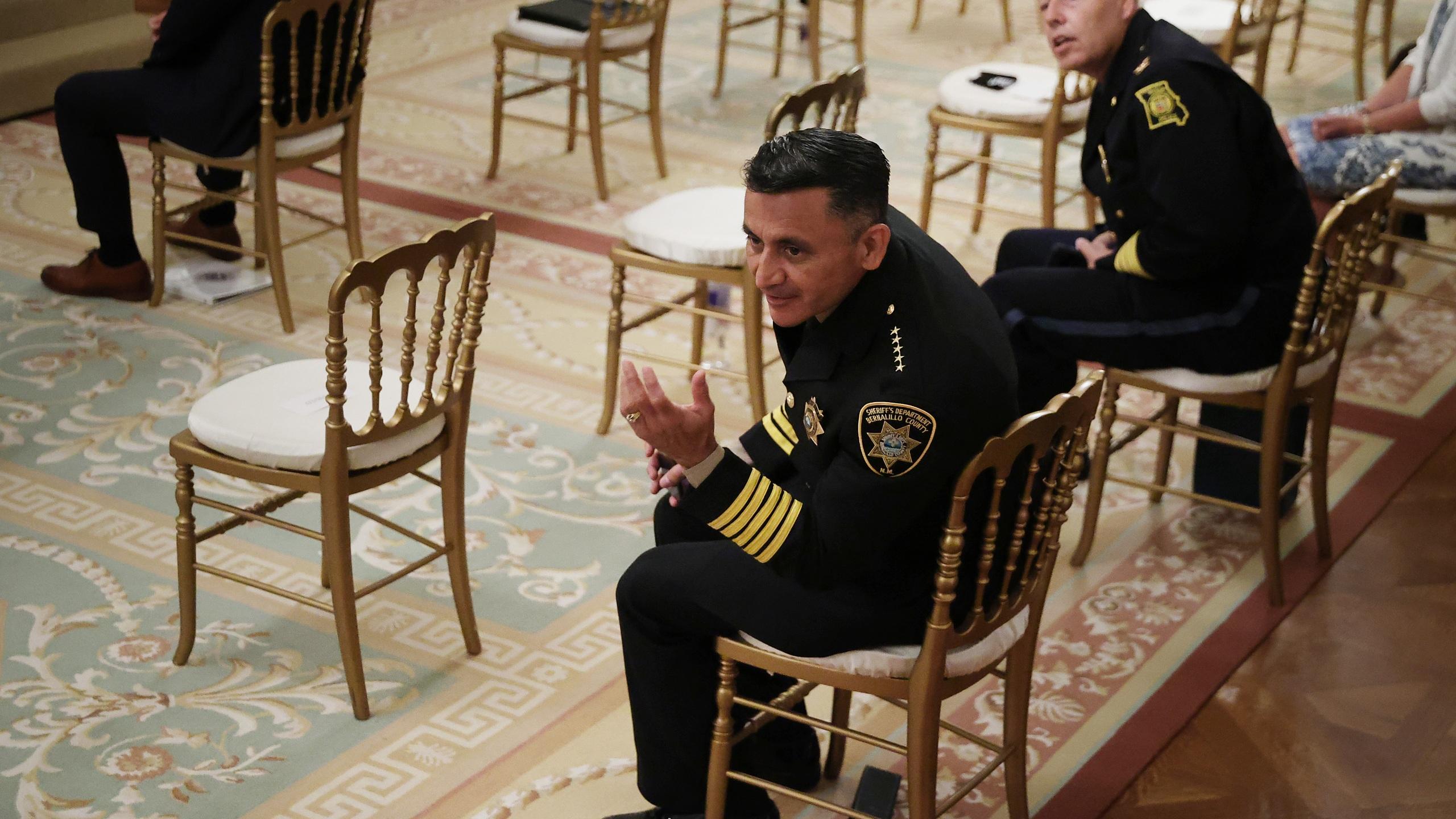 Bernalillo County New Mexico Sheriff Manuel Gonzales III (L) and Kansas City Missouri Police Chief Richard Smith attend an event with U.S. President Donald Trump about Operation Legend' in the East Room of the White House on July 22, 2020. (Chip Somodevilla/Getty Images)