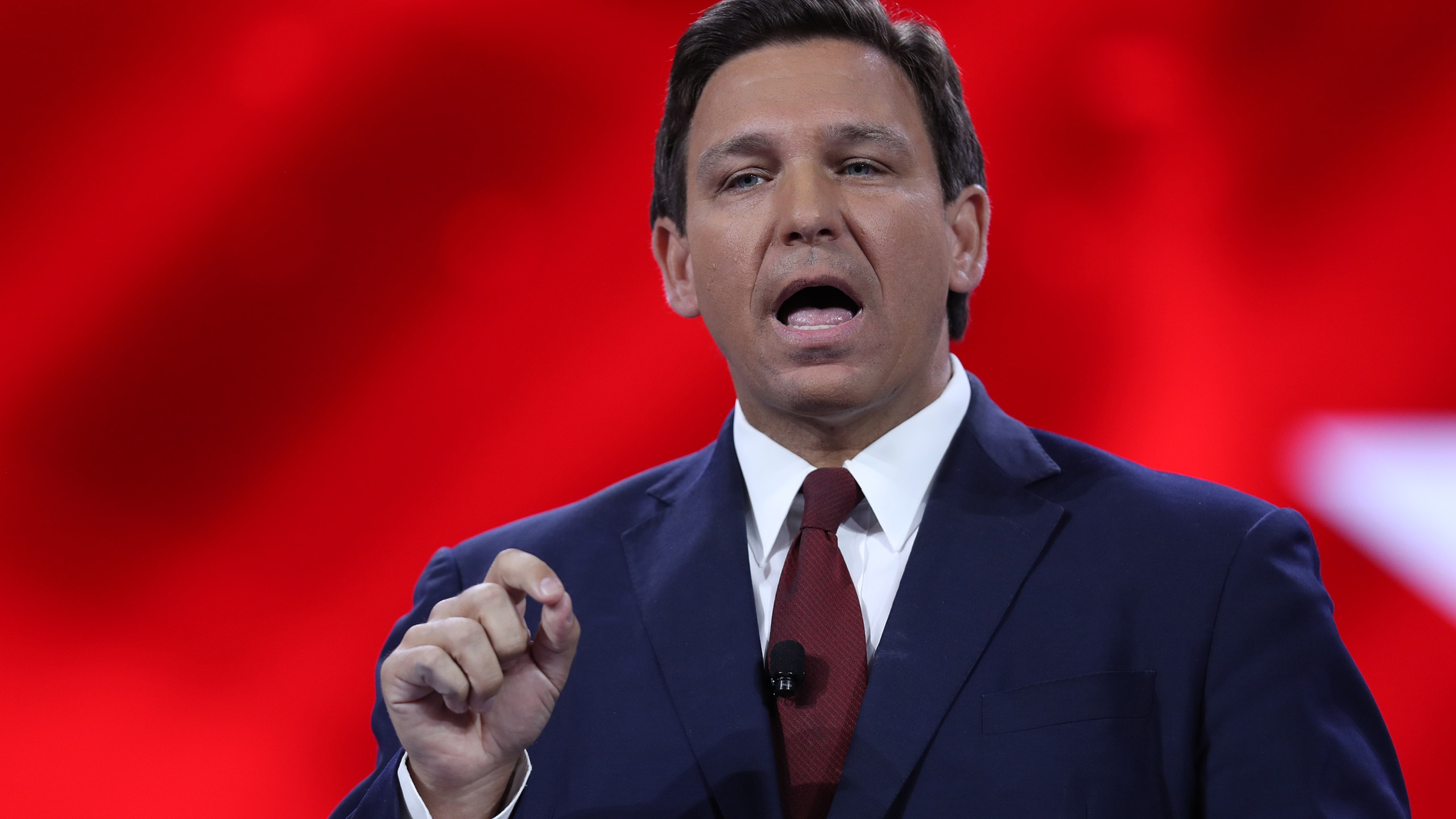 Florida Gov. Ron DeSantis speaks at the opening of the Conservative Political Action Conference at the Hyatt Regency on February 26, 2021 in Orlando, Florida. (Photo by Joe Raedle/Getty Images)