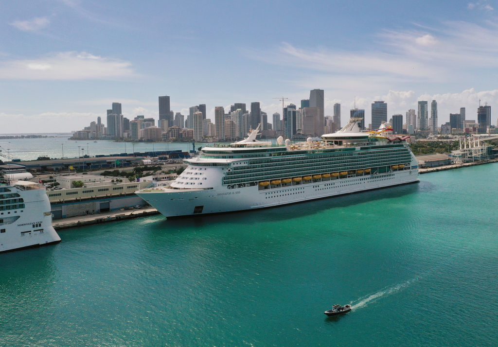 This file photo shows an aerial view from a drone of a Royal Caribbean cruise ship docked at PortMiami on March 02, 2021 in Miami, Florida. (Joe Raedle/Getty Images)