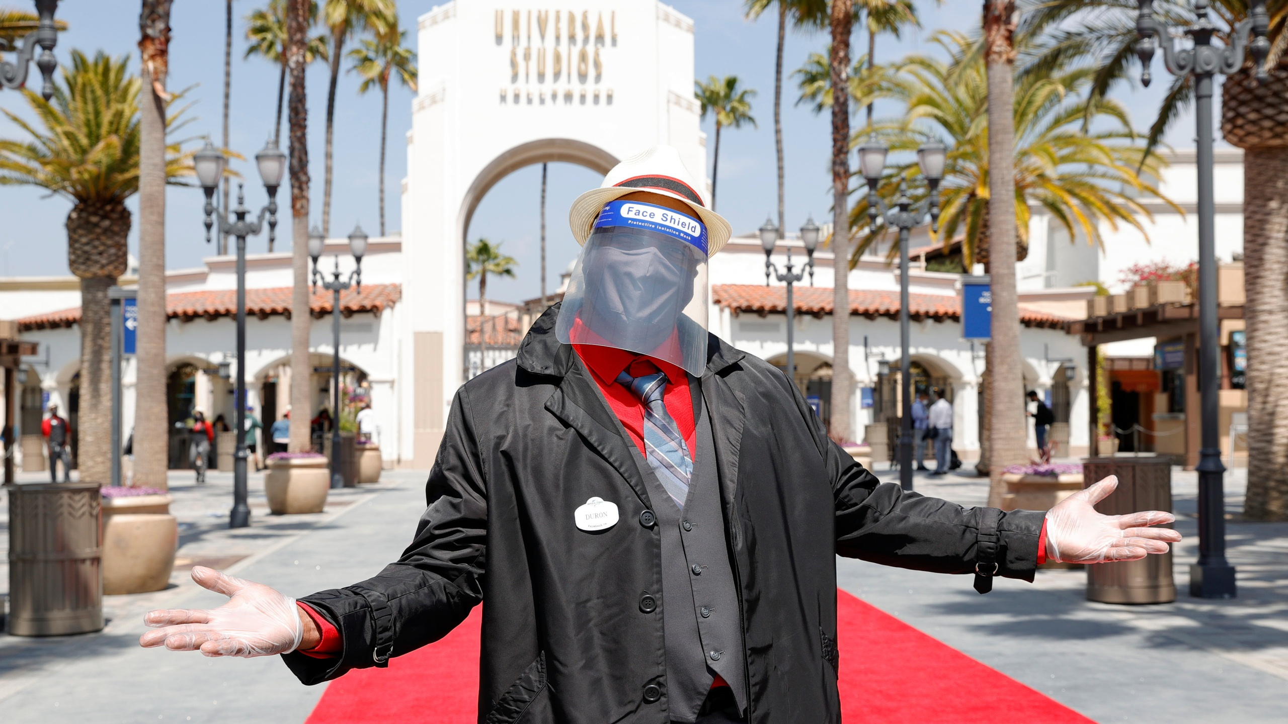 An employee is seen ahead of the grand reopening of Universal Studios Hollywood on April 15, 2021, in Universal City, California. (Amy Sussman/Getty Images)