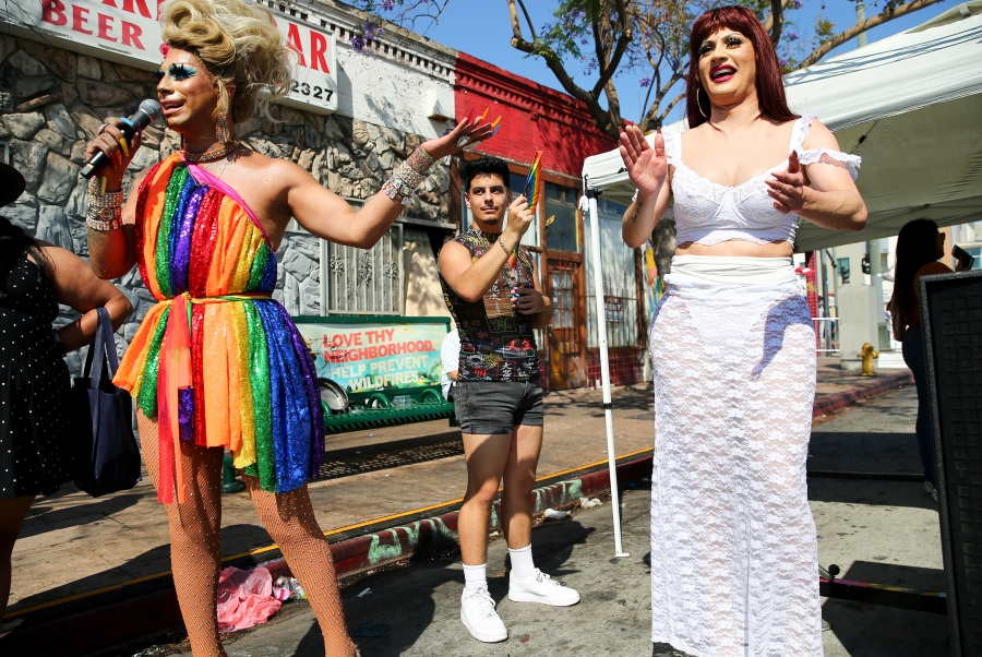 Vivienne Vita and Melissa Befierce perform at the Orgullo Fest (Pride Fest) in Boyle Heights on June 27, 2021 in Los Angeles.  (Mario Tama/Getty Images)