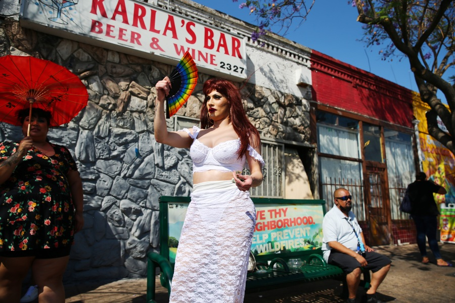 Vivienne Vita fans herself after performing at the Orgullo Fest (Pride Fest) in Boyle Heights on June 27, 2021 in Los Angeles.  (Mario Tama/Getty Images)