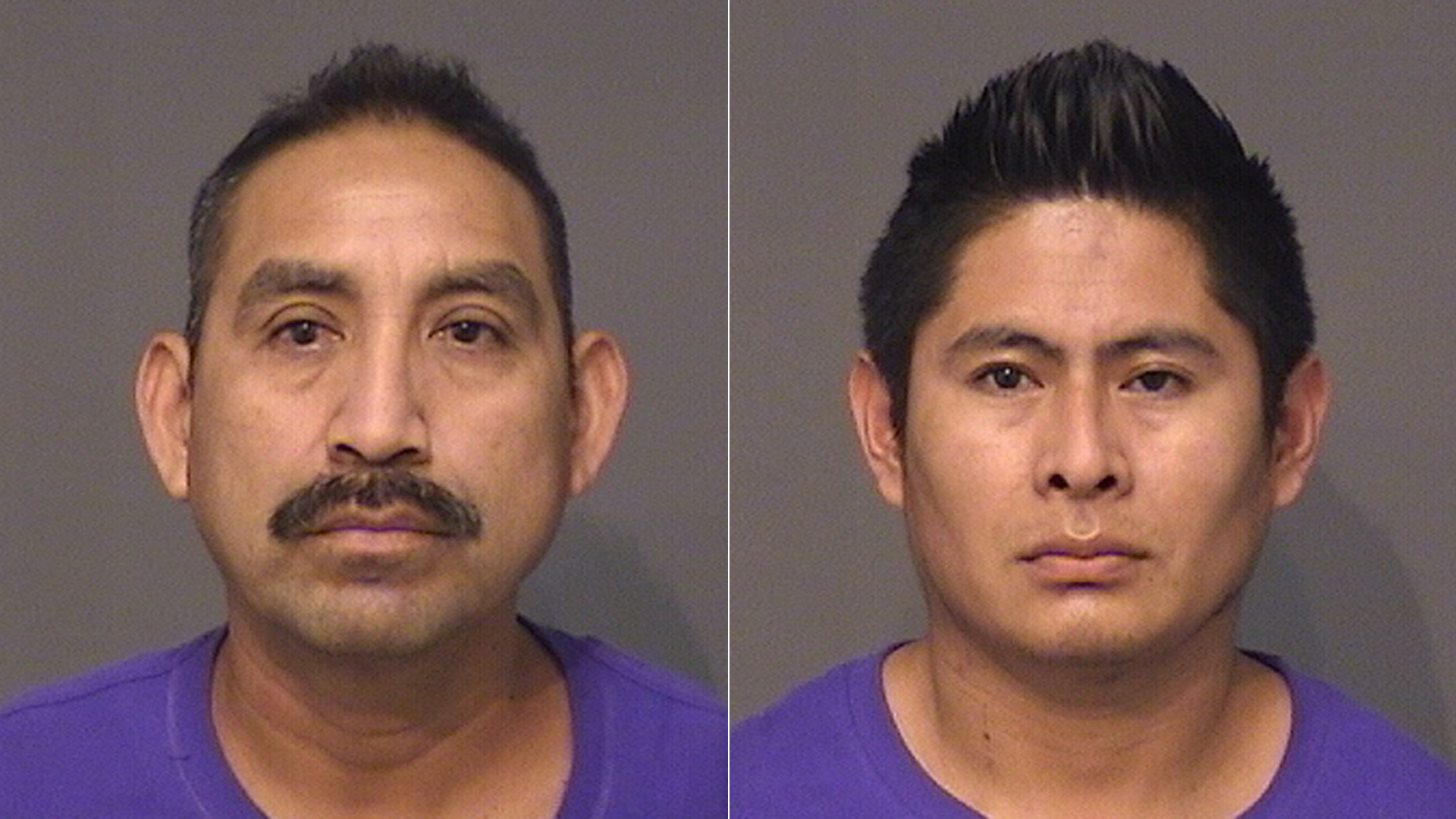 Florentino Bacilio (left) and Angel Evaristo are shown in photos released by the Huntington Beach Police Department on June 10, 2021.
