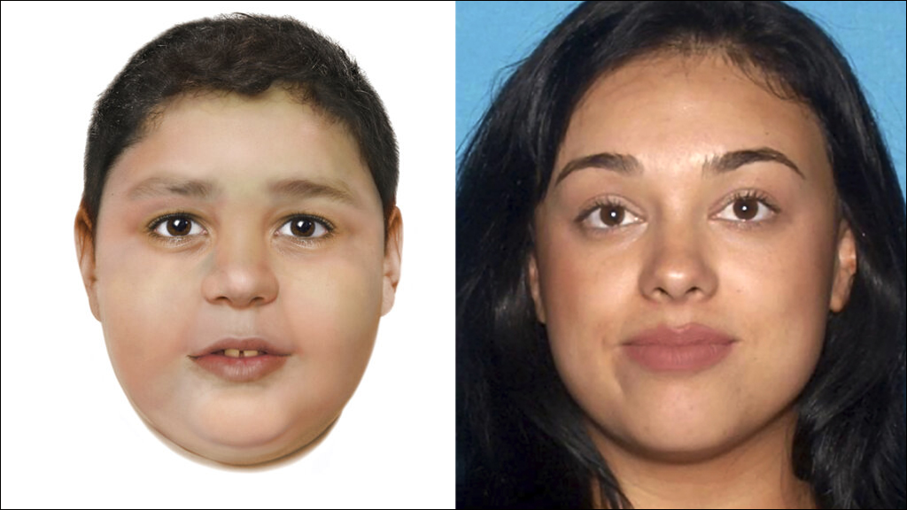 An artist's rendering by the National Center for Missing and Exploited Children shows the slain boy identified by authorities as 7-year-old Liam Husted (left). The boy's mother, Samantha Moreno Rodriguez, is seen in an undated booking photo from the Las Vegas Metropolitan Police Department. (Photos via AP)