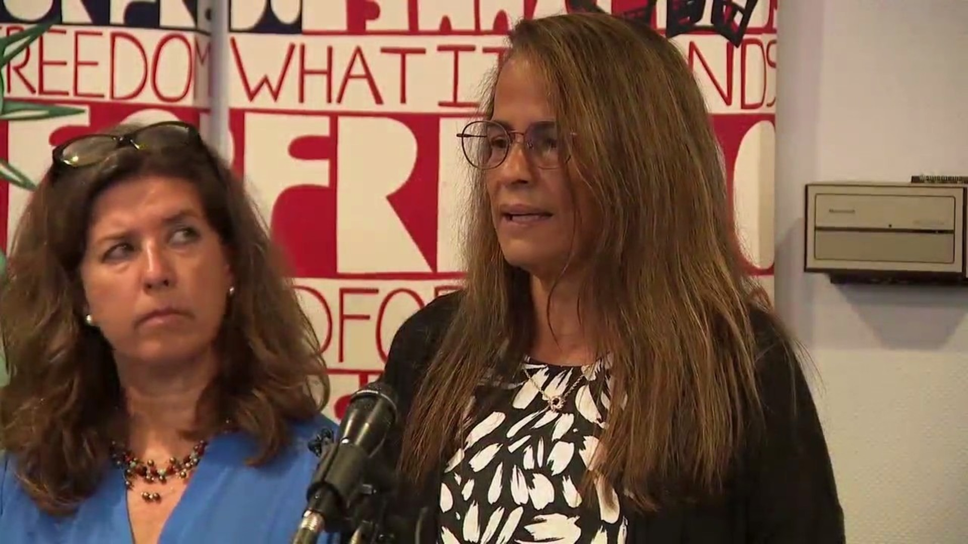 Janine Bouey, a former LAPD officer, speaks at a news conference at Alliance San Diego. (KSWB)