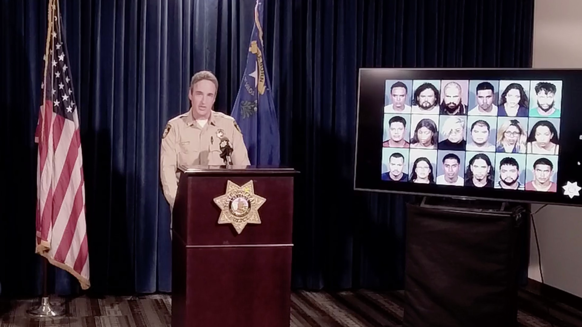 Capt. Shane Womack announces the arrests of 28 suspects in connection with a Las Vegas-area car theft ring on June 21, 2021. (Las Vegas Metropolitan Police Department)