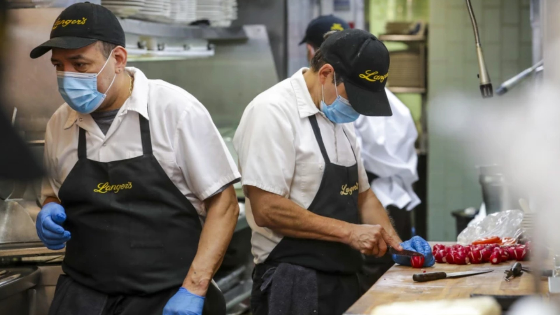 For the first time in over a year, Langer's Delicatessen-Restaurant in L.A. preps food for in-person dining on June 15, 2021. (Irfan Khan/Los Angeles Times)