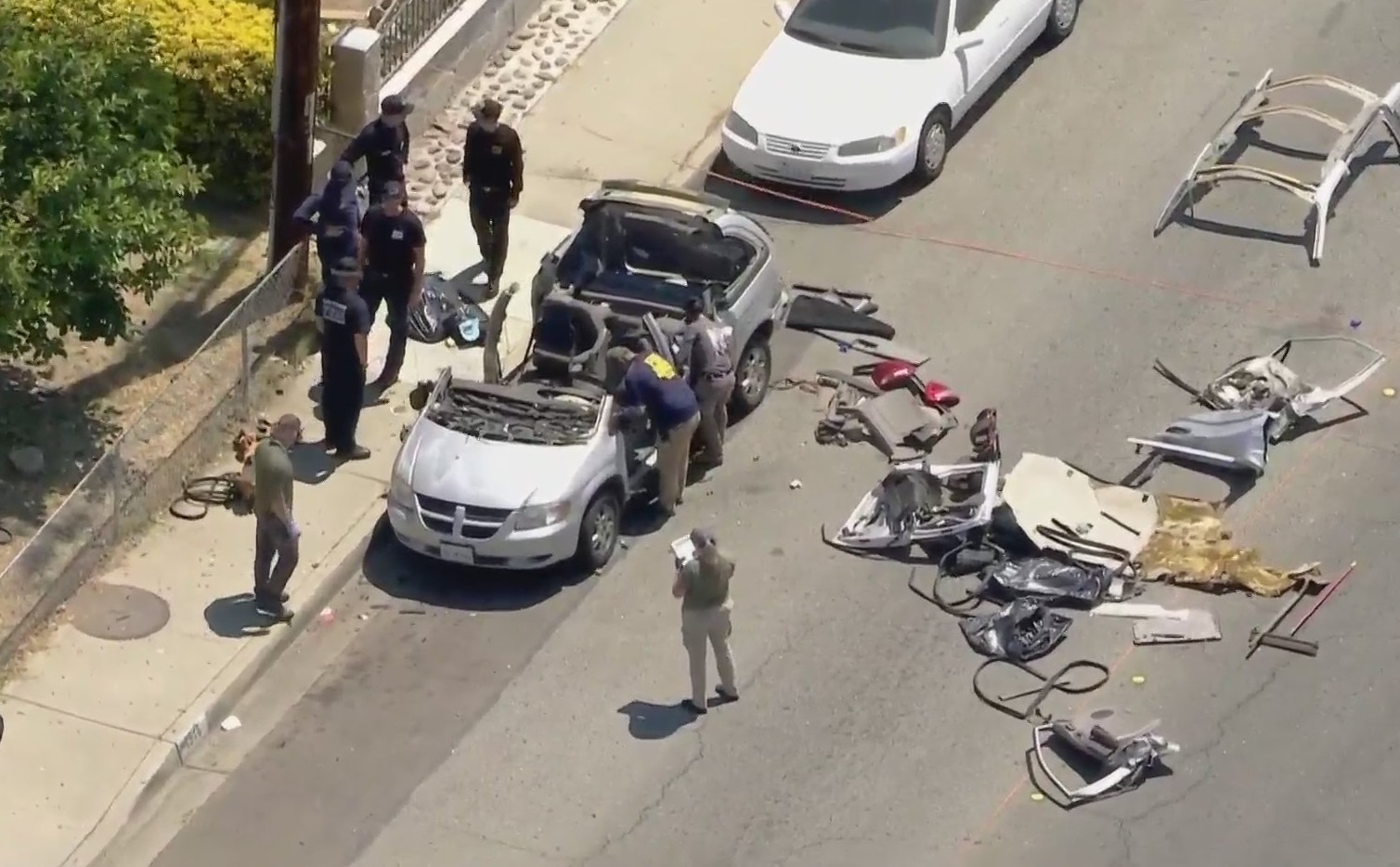A vehicle was heavily damaged by an explosion in Montclair on June 14, 2021. (KTLA)