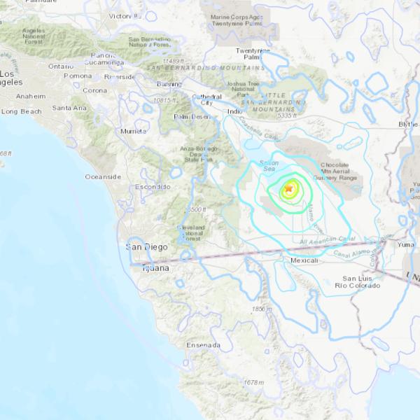 A magnitude 5.3 quake that struck near Calipatria on June 5, 2021. (USGS)