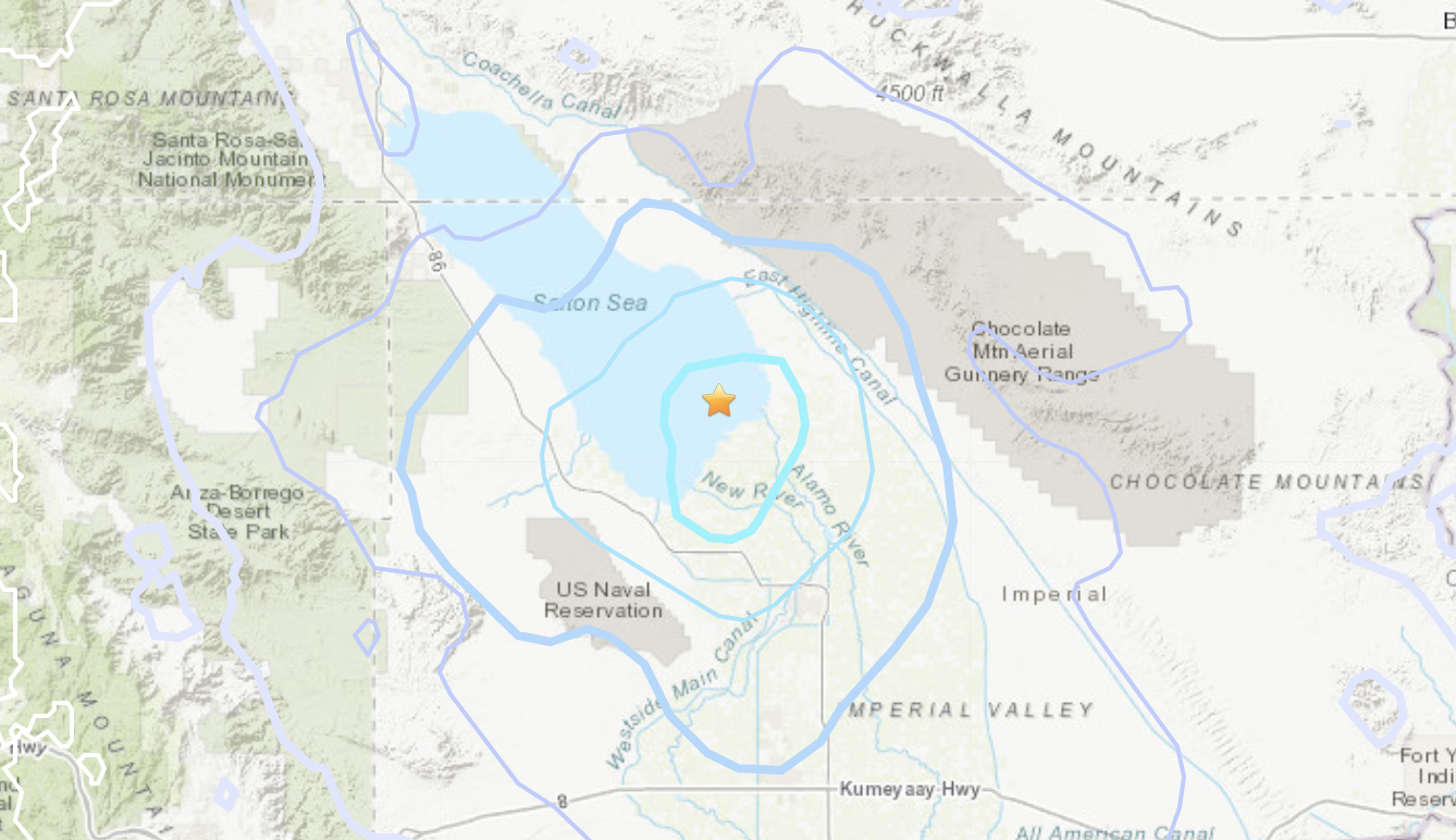 A magnitude 4.3 earthquake that rattled the Salton Sea area on June 11, 2021, is seen in a map provided by the U.S. Geological Survey.