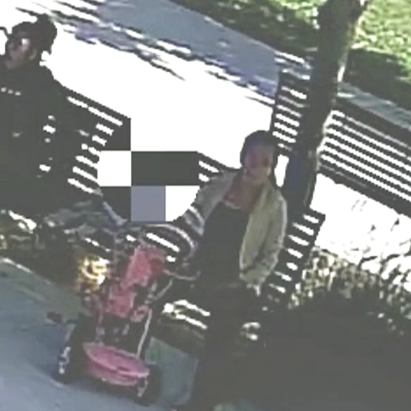 Two women identified as persons of interest in a baby abandonment case are seen at a Lynwood park in surveillance video released June 17, 2021, by the Los Angeles County Sheriff's Department.