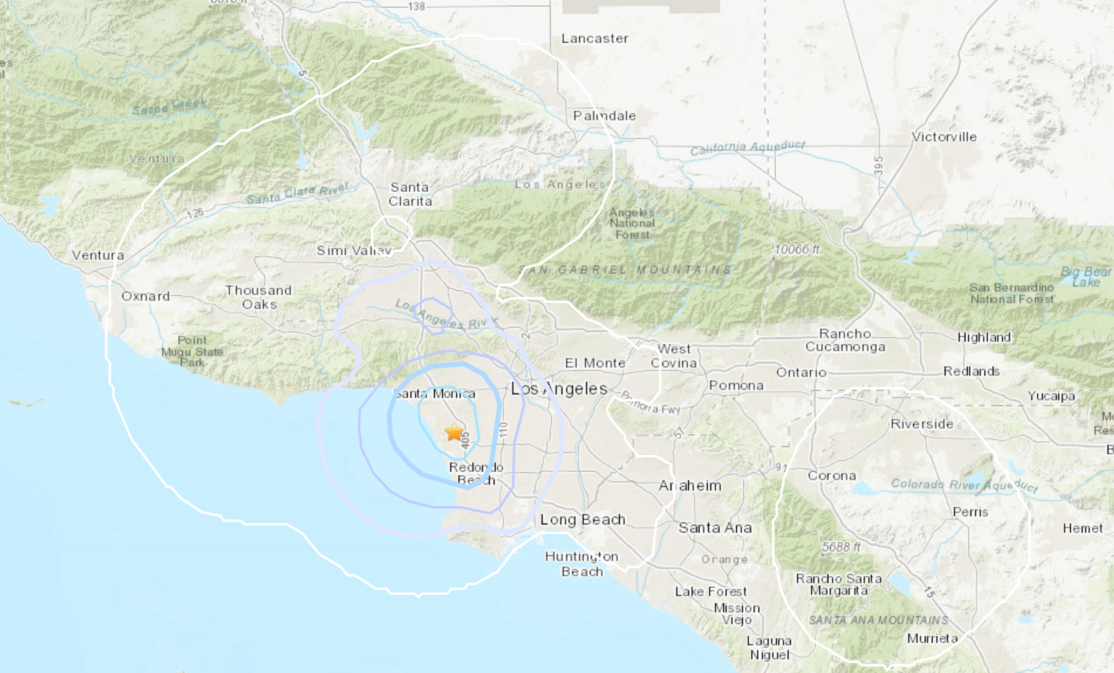 A USGS map shows the location of a magnitude 3.4 earthquake that struck near LAX at 5:08 p.m. June 23, 2021.