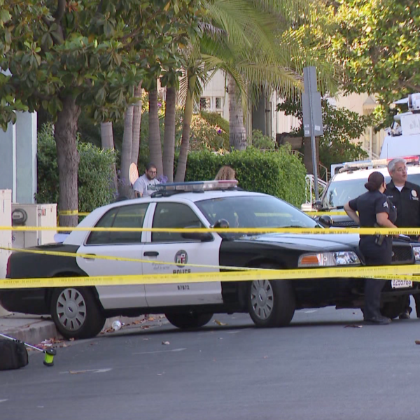 Police respond to investigate a shooting outside a Ralphs in the Mid-Wilshire neighborhood of Los Angeles on June 23, 2021. (KTLA)