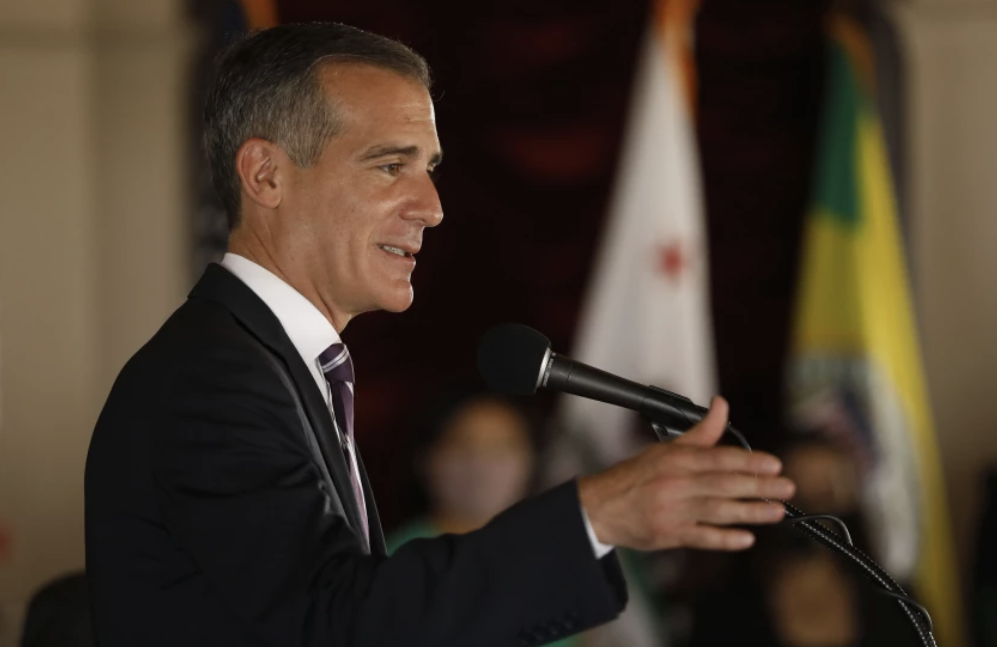 Mayor Eric Garcetti is seen at a City Hall news conference. (Al Seib / Los Angeles Times)