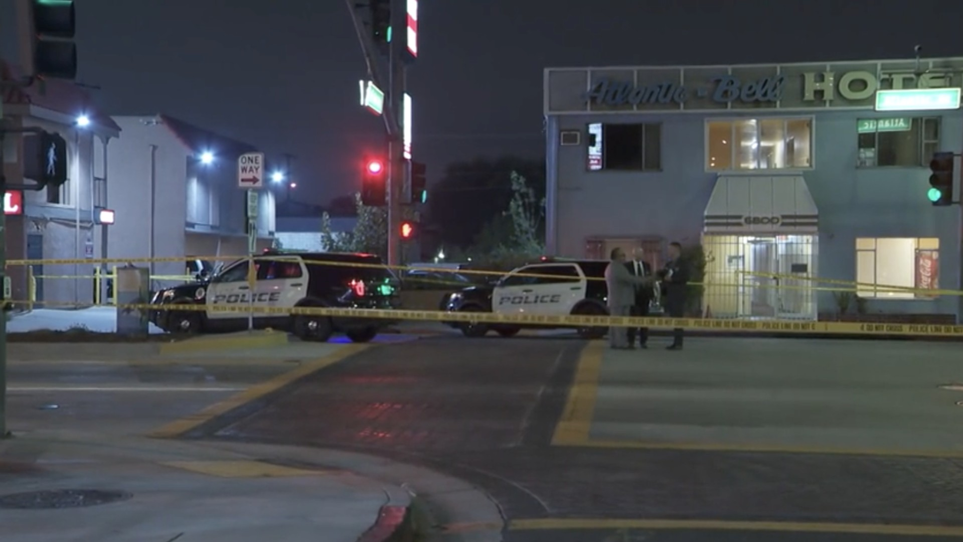 Authorities respond to a shooting involving Bell police officers on June 20, 2021. (KTLA)