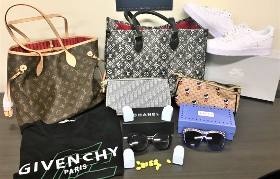 An image provided by U.S. Customs and Border Protection officials shows some of the items seized at the Port of Long Beach.