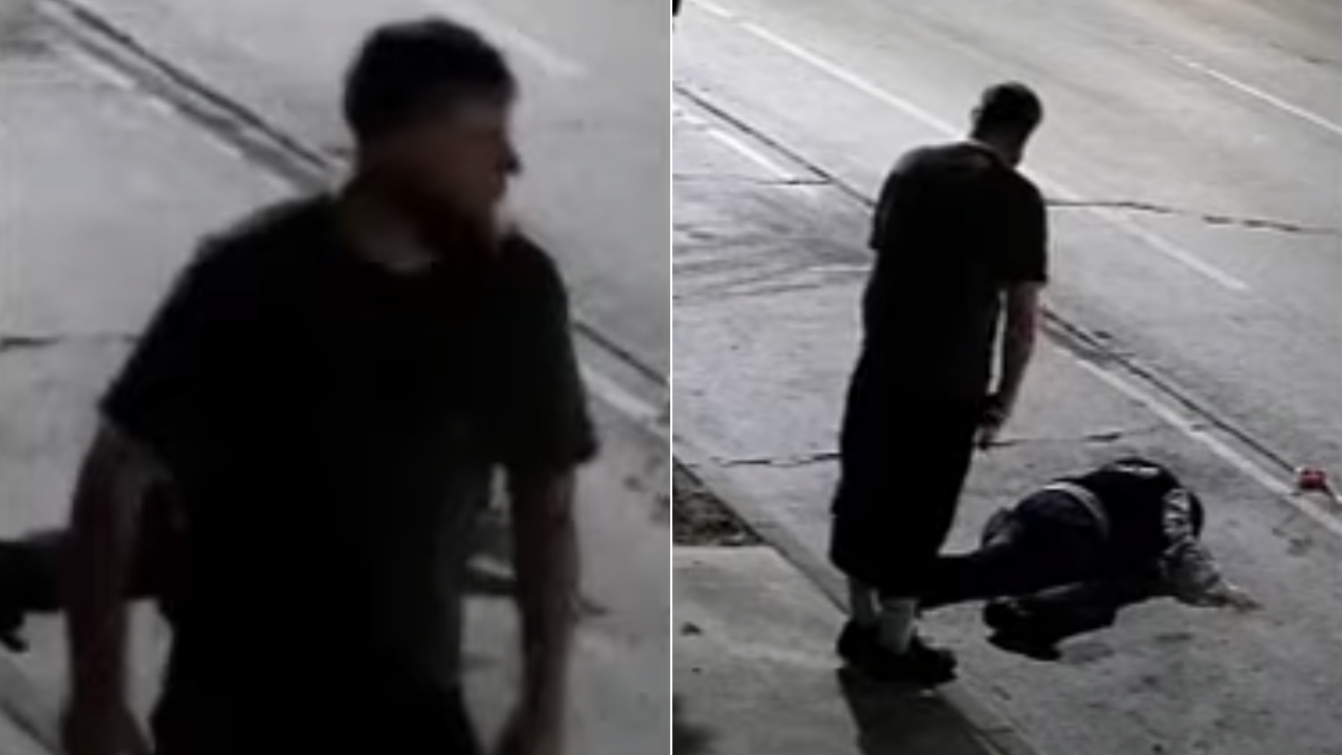 Images of a man accused of assaulting an Asian American woman in Culver City in a possible hate crime, with the victim on the ground at right, are seen in stills from surveillance video released June 15, 2021, by the Culver City Police Department.