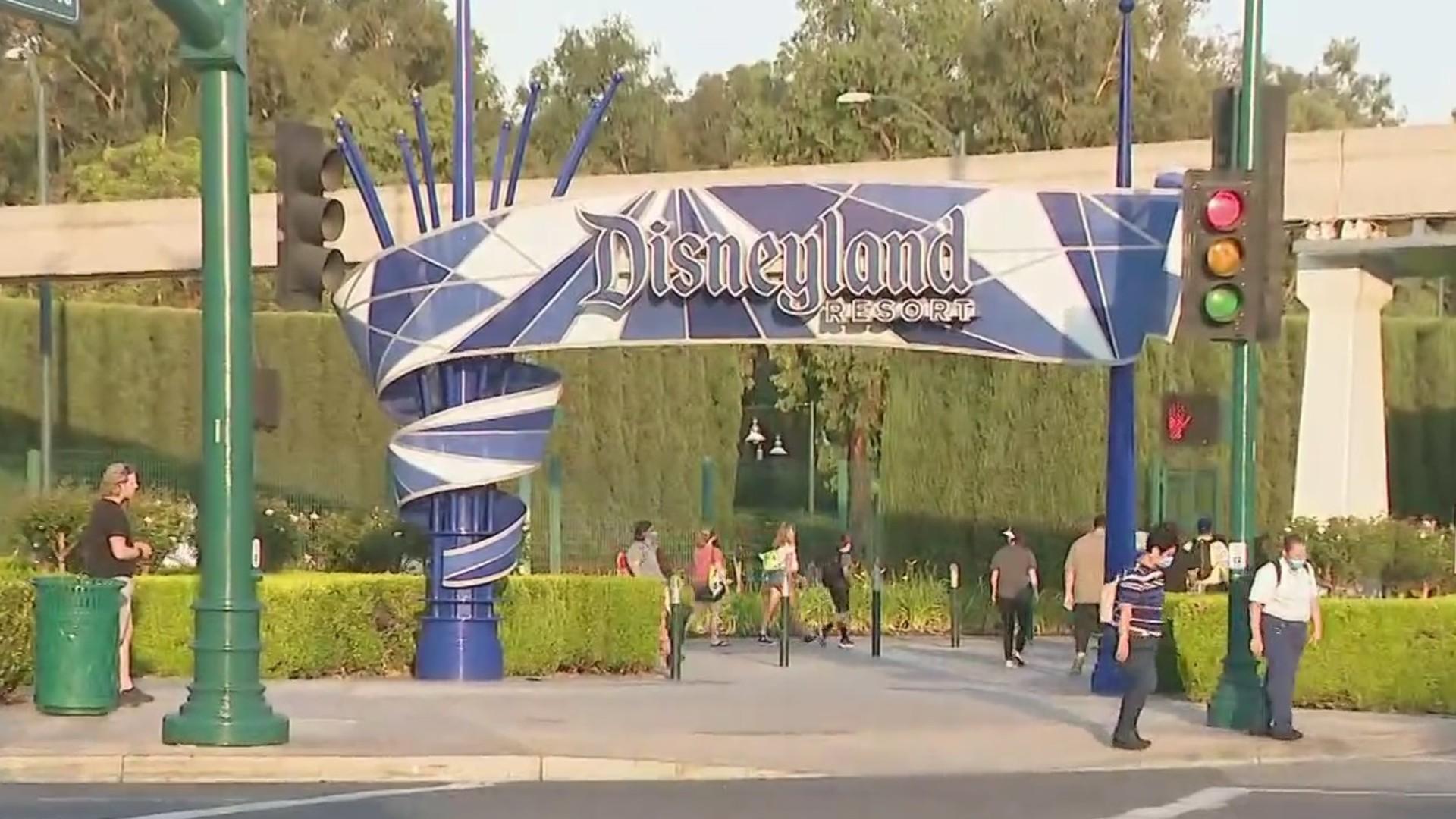 People are seen walking to Disneyland on June 15, 2021. (KTLA)