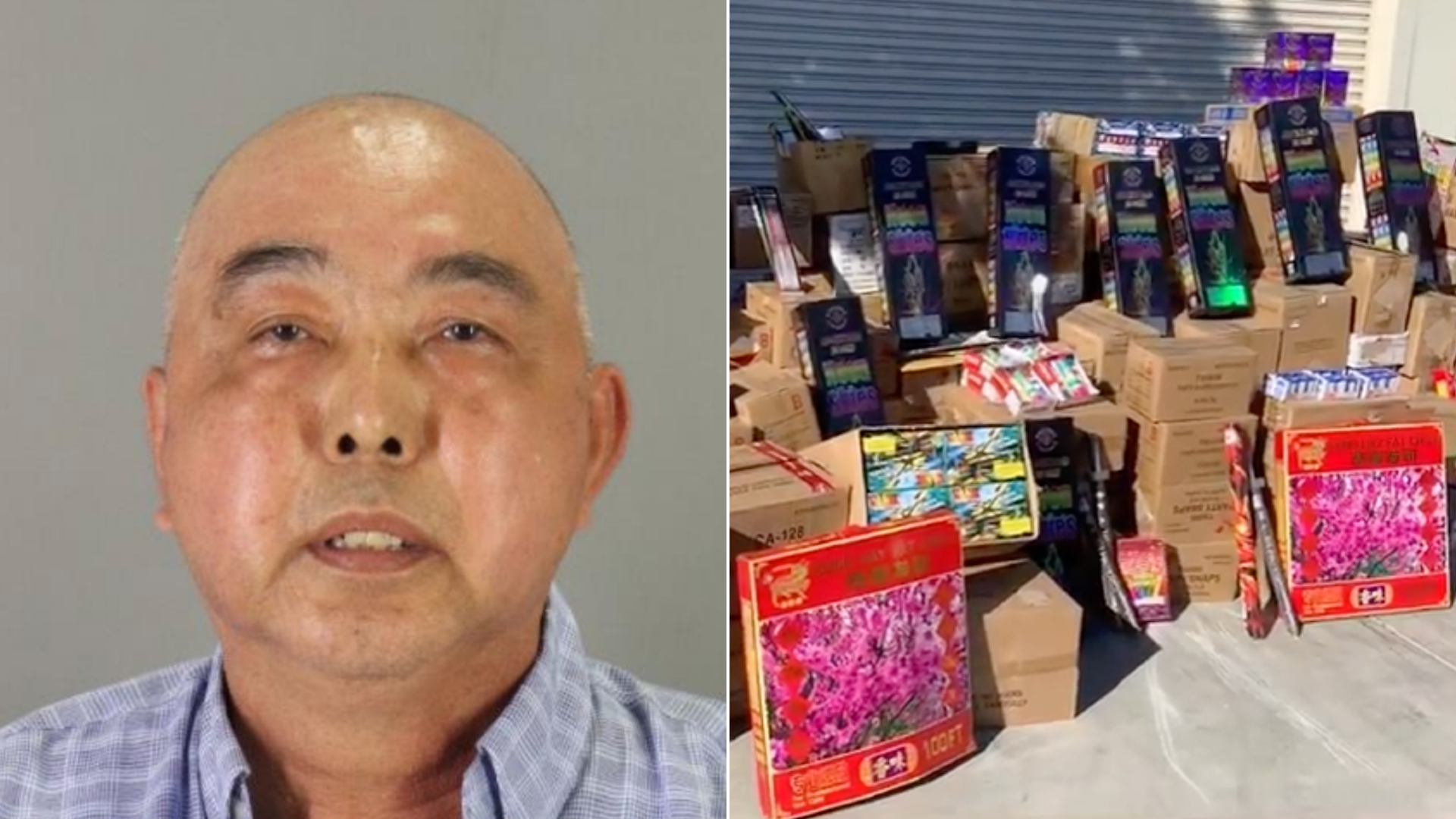 Sam San of San Francisco, left, and illegal fireworks seized are seen in photos released in June 2021 by the San Mateo County Sheriff's Office.