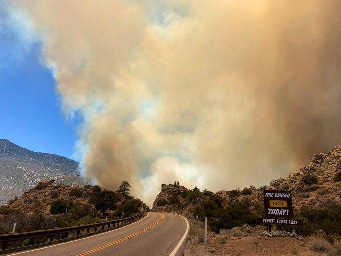 The Flats Fire burning in San Bernardino has grown to at least 150 acres, prompting mandatory evacuations. (Photo by San Bernardino National Forest)