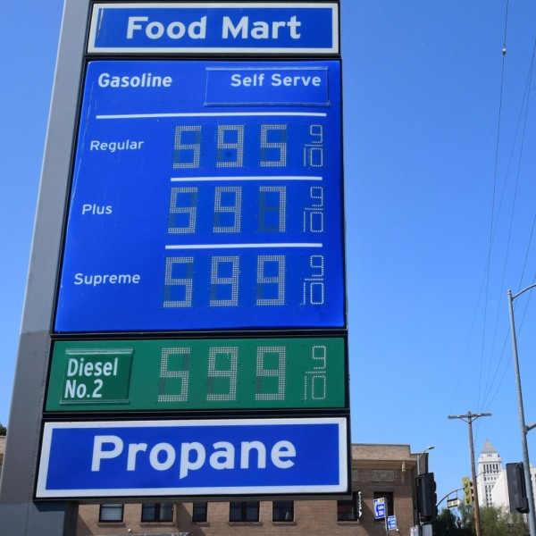 Some of the highest gas prices in town are posted on a signboard at a gas station in downtown Los Angeles on June 22, 2021, as gasoline prices rise. (FREDERIC J. BROWN/AFP via Getty Images)
