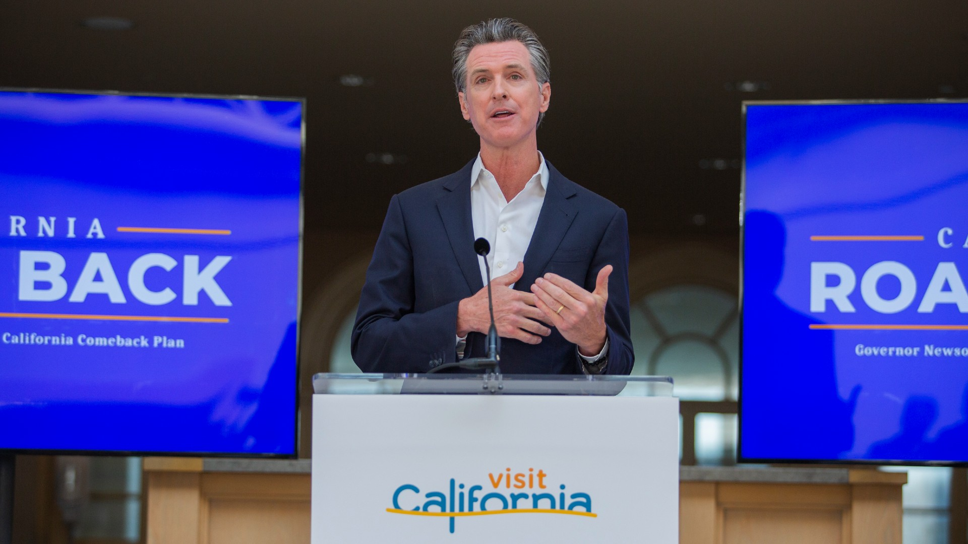California Gov. Gavin Newsom speaks during a press conference in San Francisco on Monday, June 14, 2021. (Nina Riggio/San Francisco Chronicle via AP)