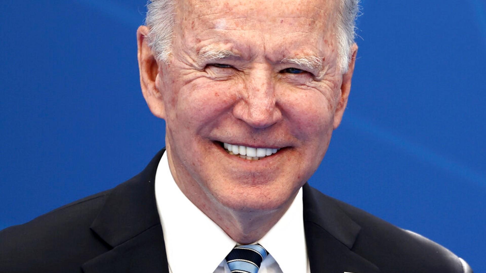 U.S. President Joe Biden arrives for a NATO summit at NATO headquarters in Brussels, Monday, June 14, 2021. (Kenzo Tribouillard, Pool via AP)