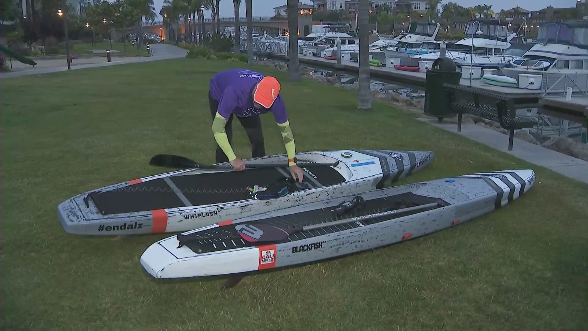 Juerg Geser got up before sunrise to start his 15-hour paddleboard journey as part of the Alzheimer's Association's Longest Day Campaign in honor of his father who is battling Alzheimer's Disease back home in Switzerland on June 20, 2021.
