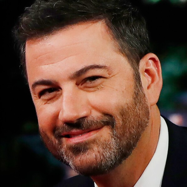 """In this Aug. 22, 2016, file photo, ABC talk show host Jimmy Kimmel poses with then Democratic presidential nominee Hillary Clinton, unseen, during a break in taping of """"Jimmy Kimmel Live!"""" in Los Angeles. (AP Photo/Carolyn Kaster, File)"""