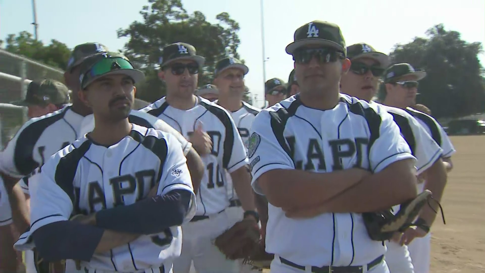 Los Angeles Police Department baseball team preps for Father's Day baseball game on June 19, 2021.