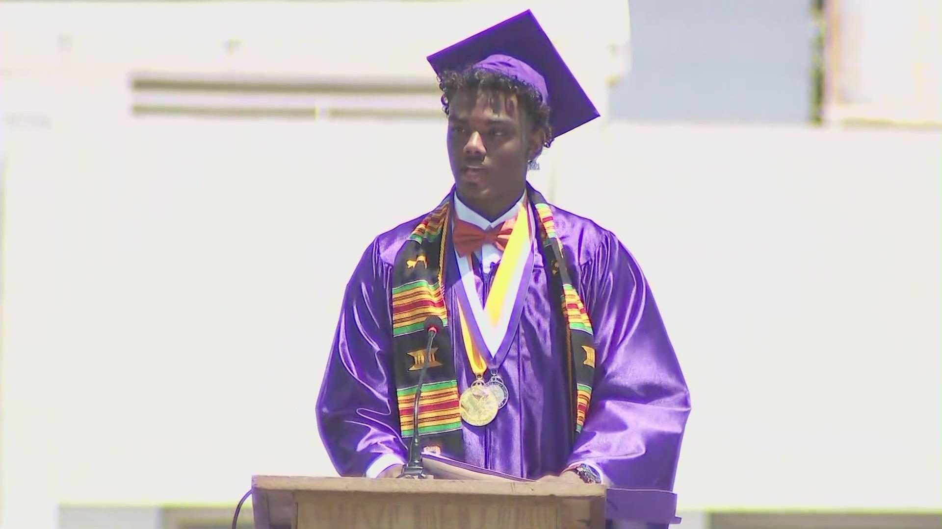 Jay'len Carter graduates from Manual Arts Senior High School in South Los Angeles as valedictorian on June 11, 2021. (KTLA)